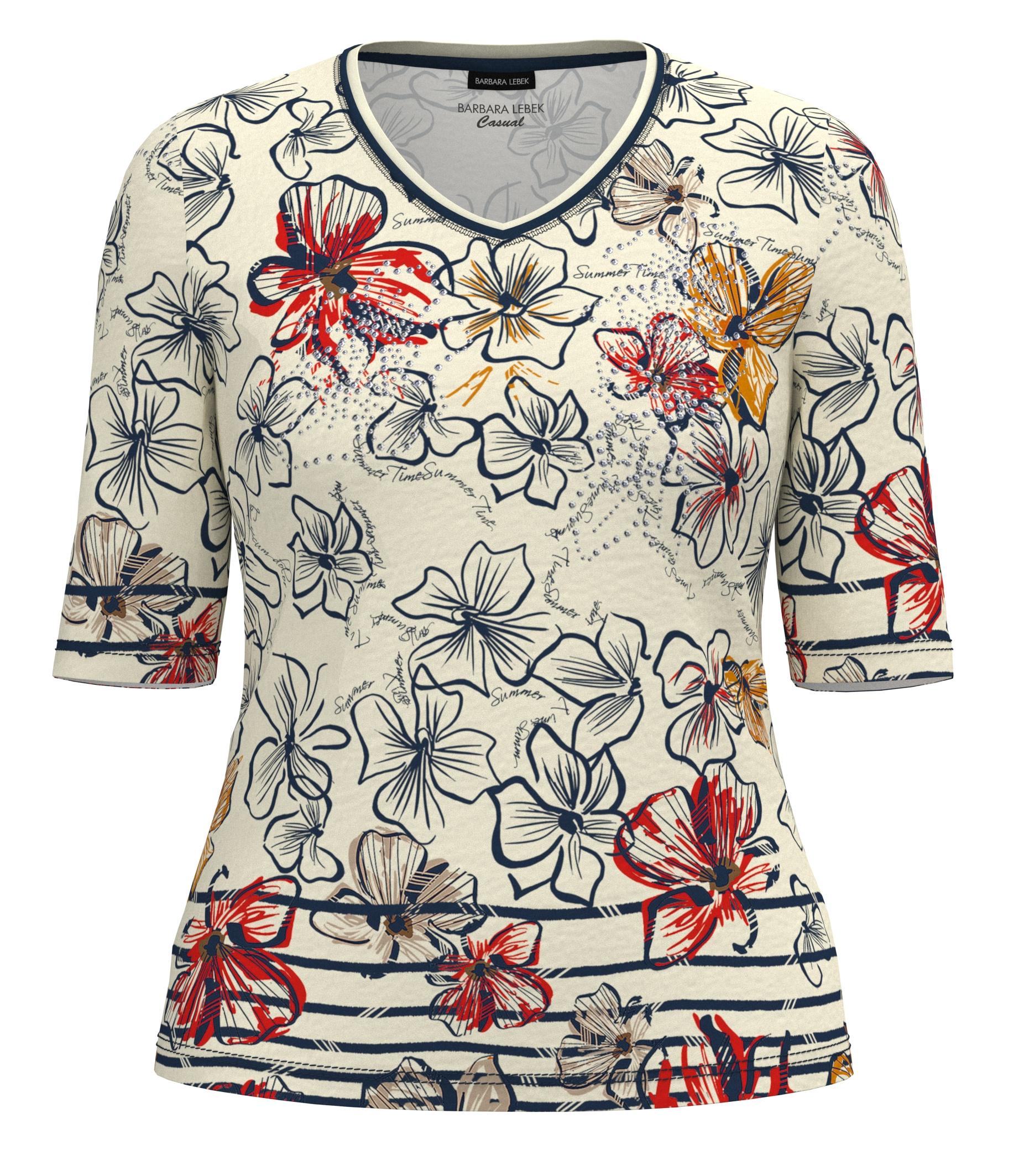 Barbara Lebek 7/8 Arm Shirt floral gemustert weiß