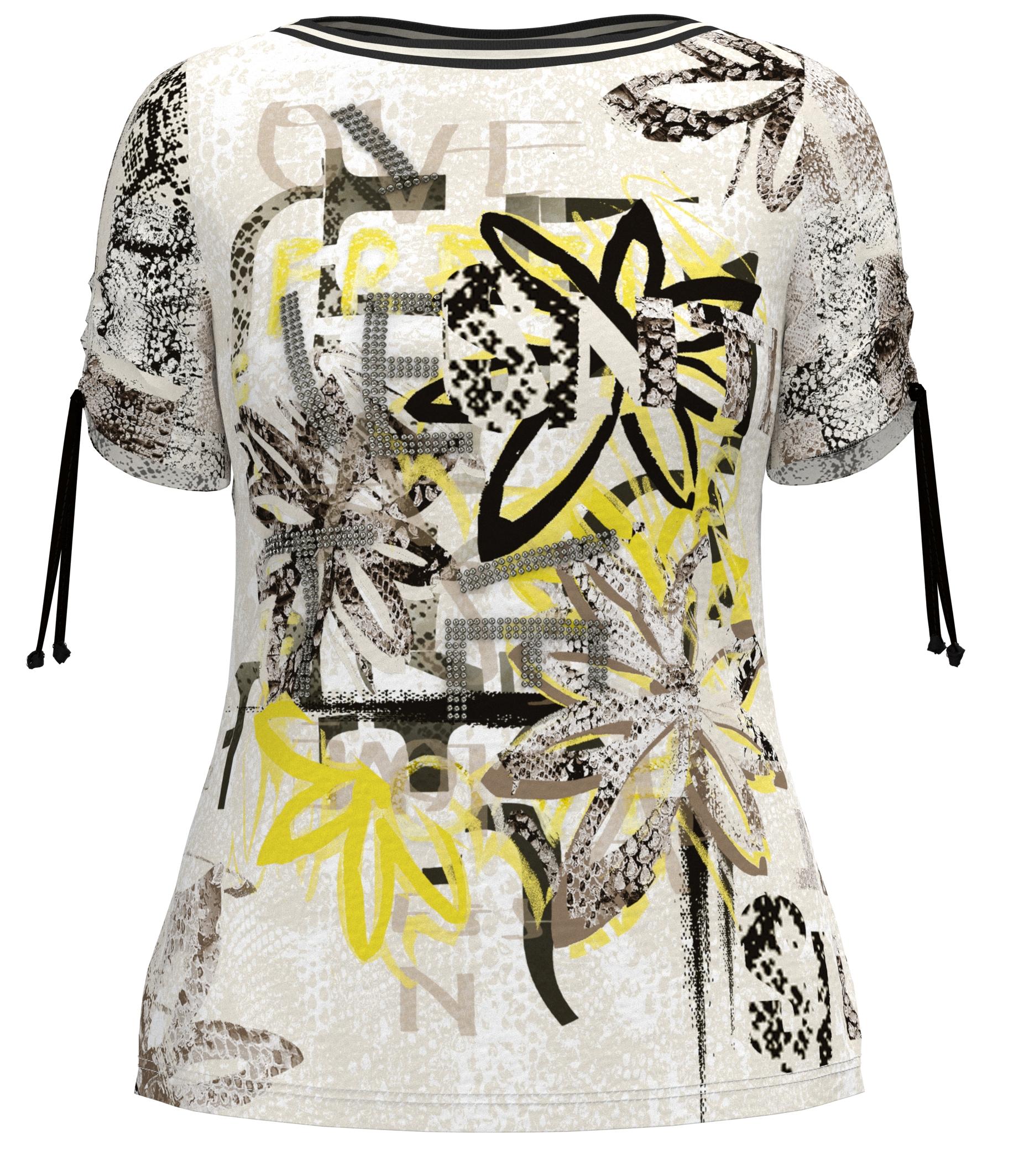 Barbara Lebek kurzarm Shirt floral gemustert mit Aufschrift weiß