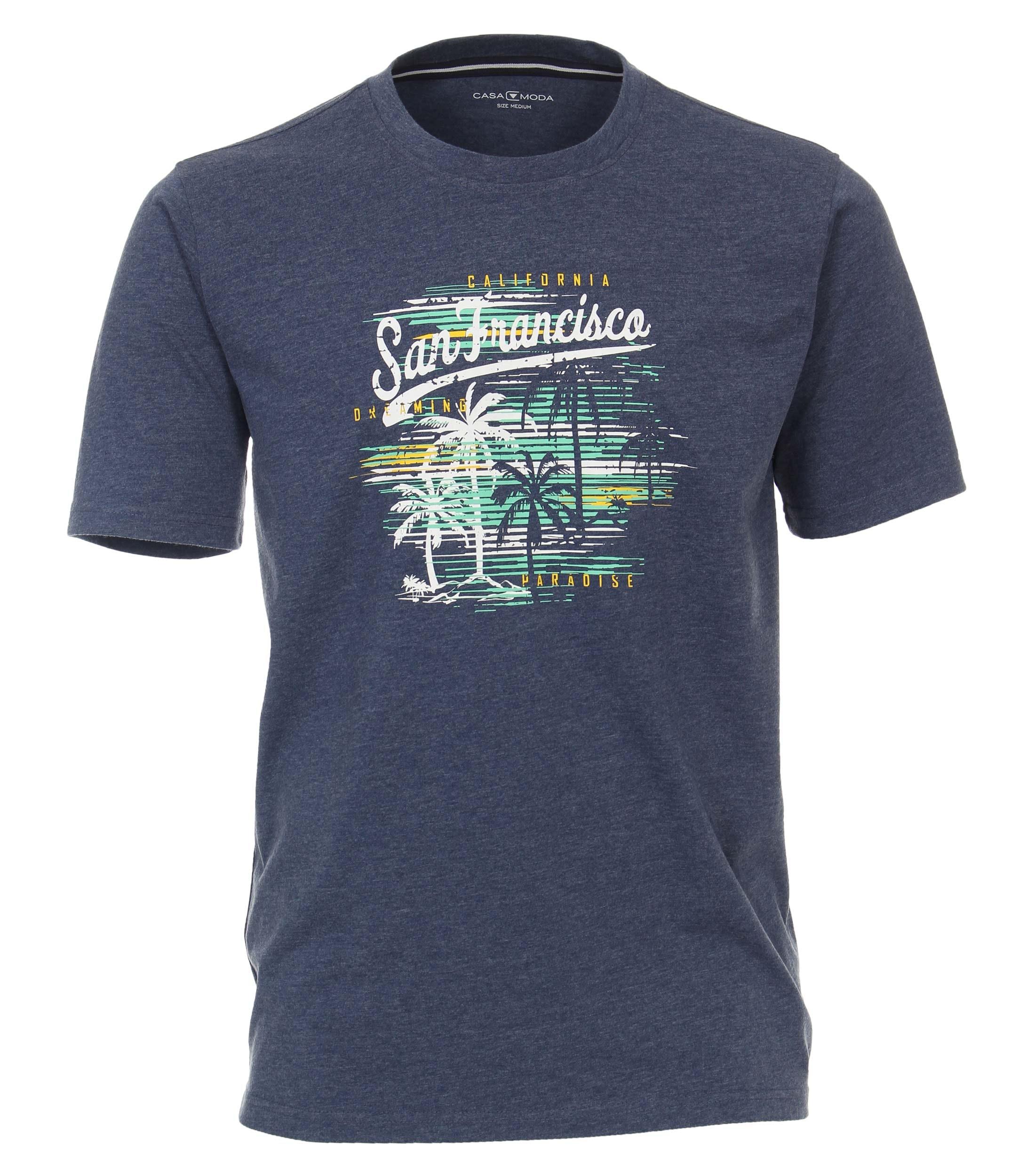 CasaModa kurzarm Shirt aus Baumwolle mit Aufdruck, blau
