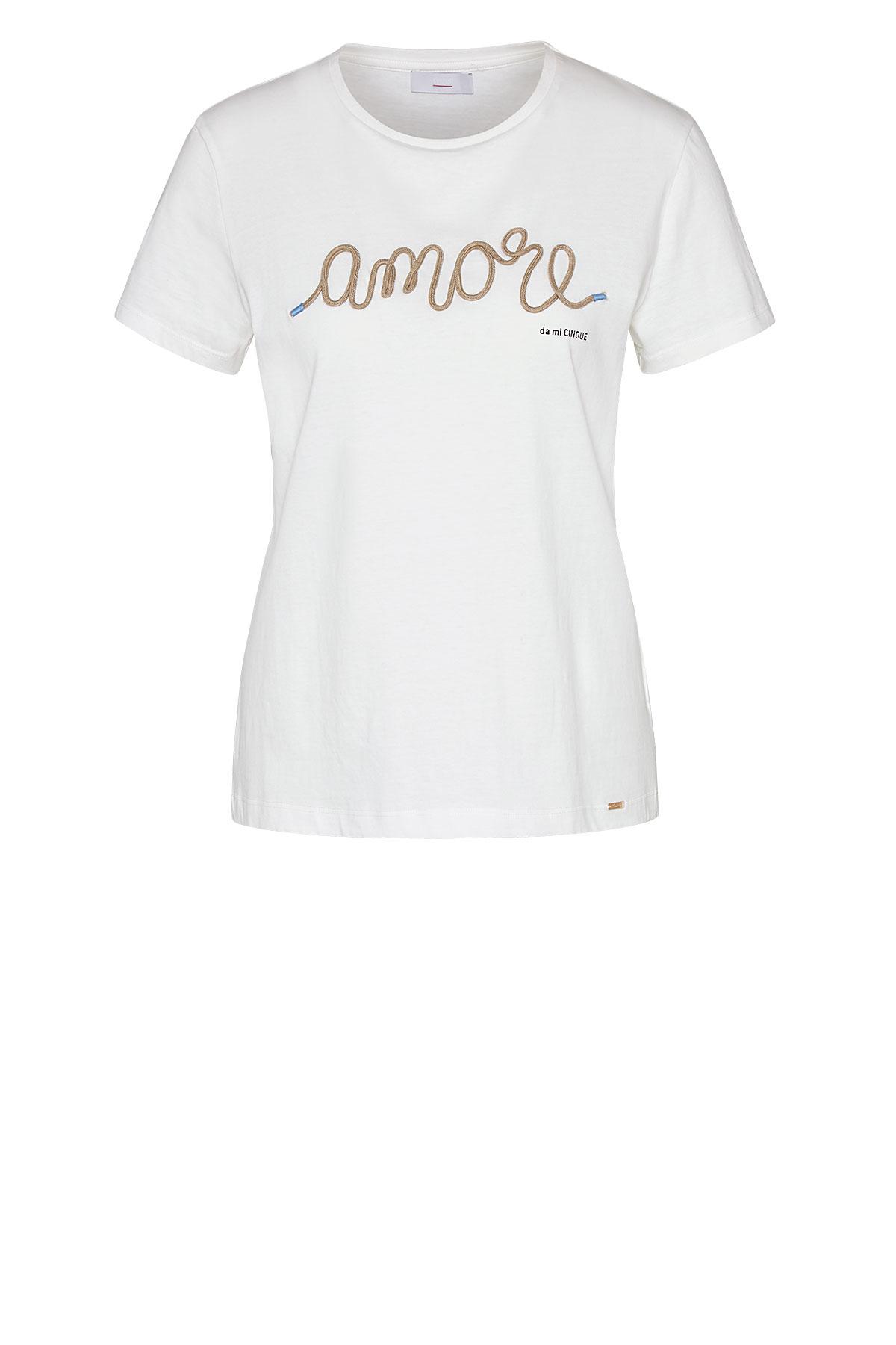 Cinque kurzarm Shirt aus Baumwolle mit Bändchenstrickerei weiß