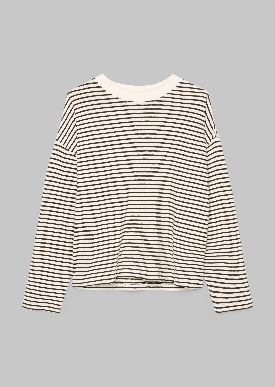Marc O' Polo langarm Shirt aus Baumwolleschwarz gestreift