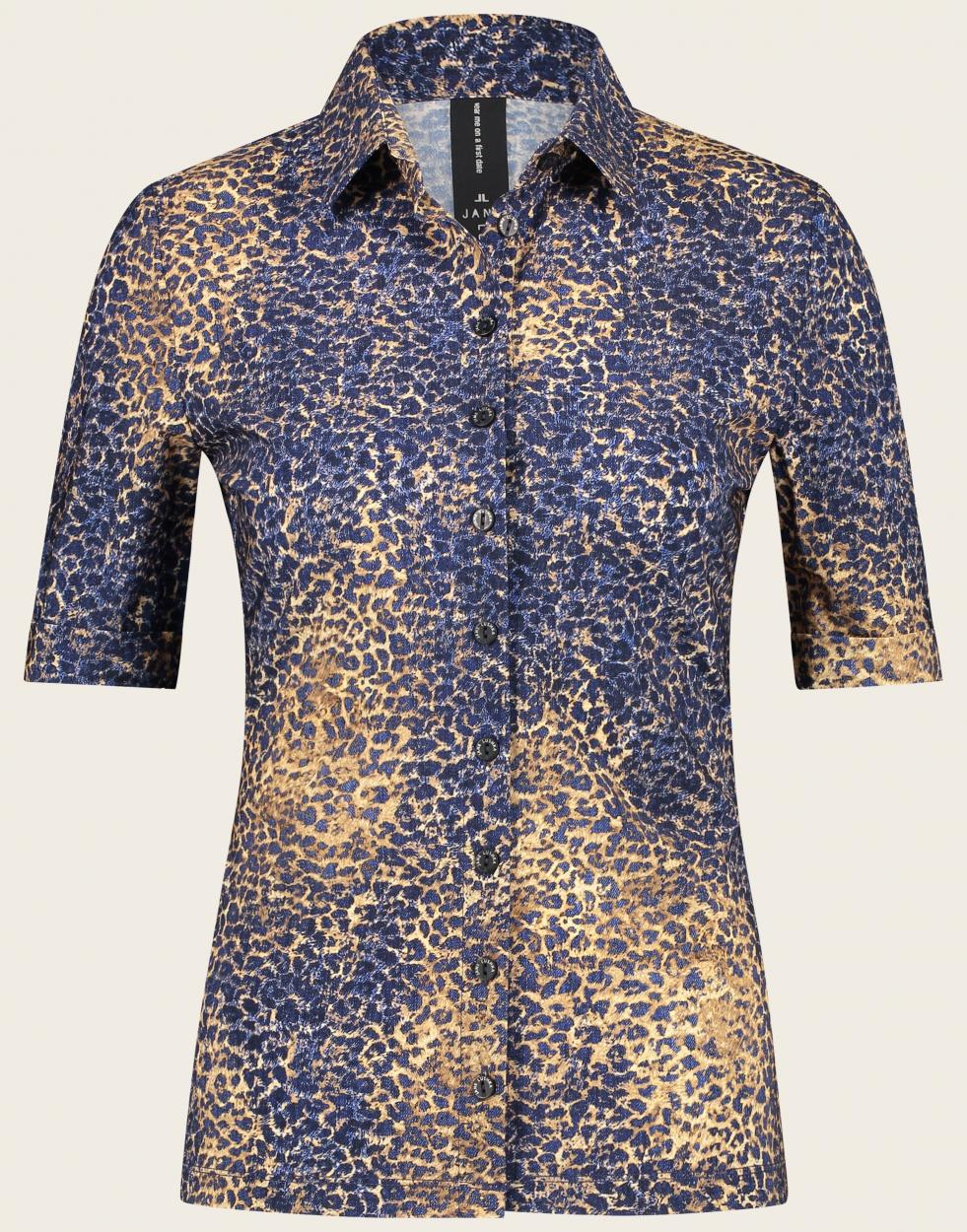 Jane Lushka halbarm Bluse mit Leopardenmuster blau