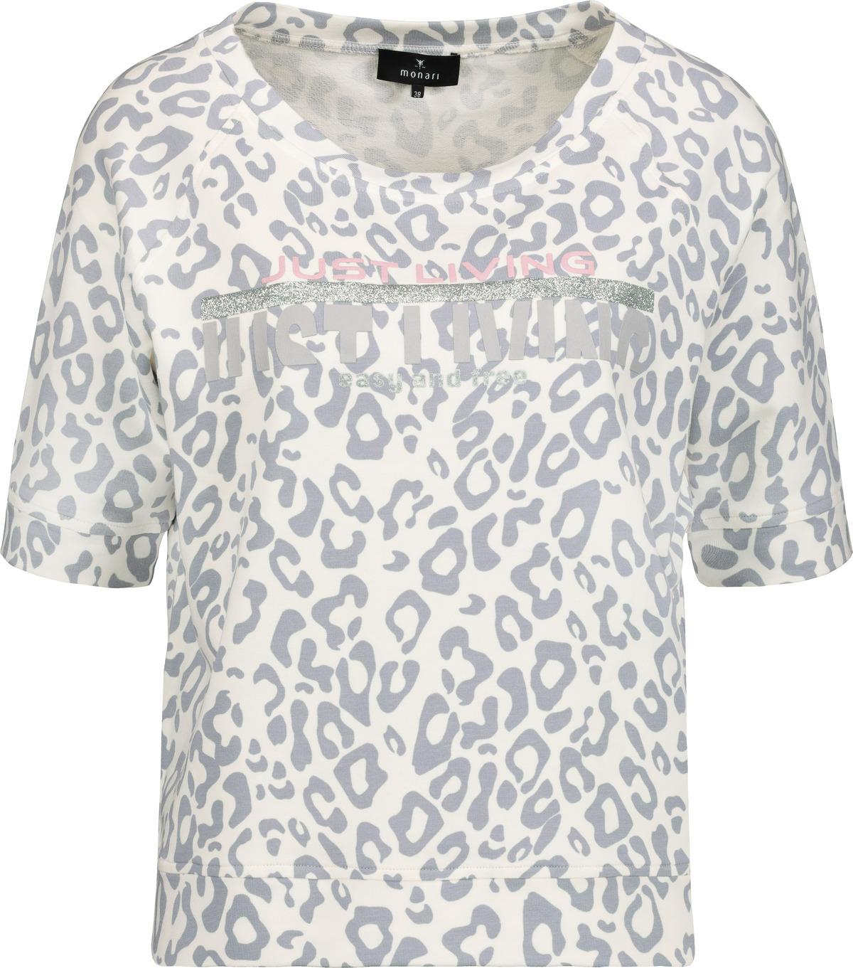 Monari halbarm Shirt gemustert weiß