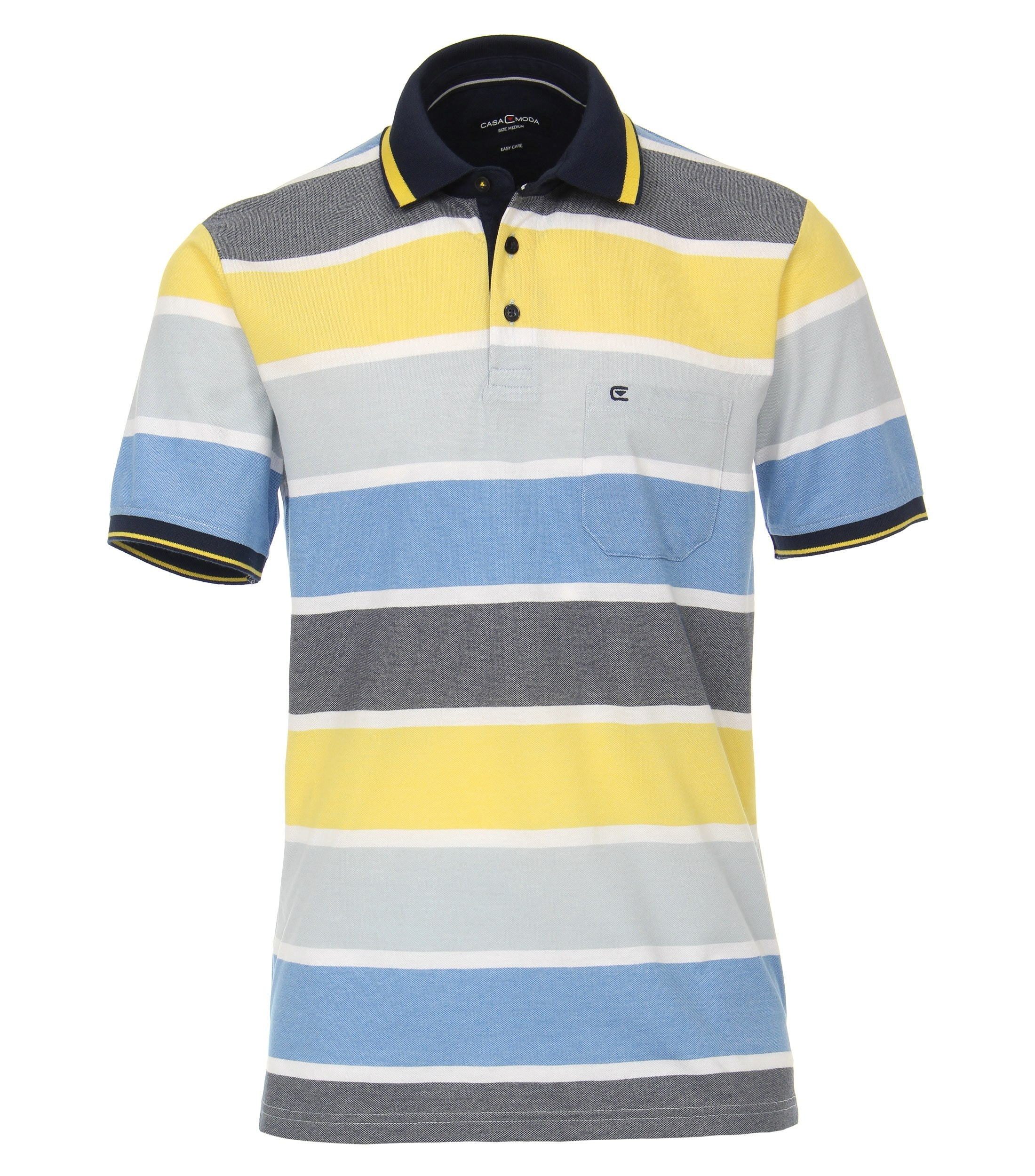CasaModa kurzarm Poloshirt gelb gestreift