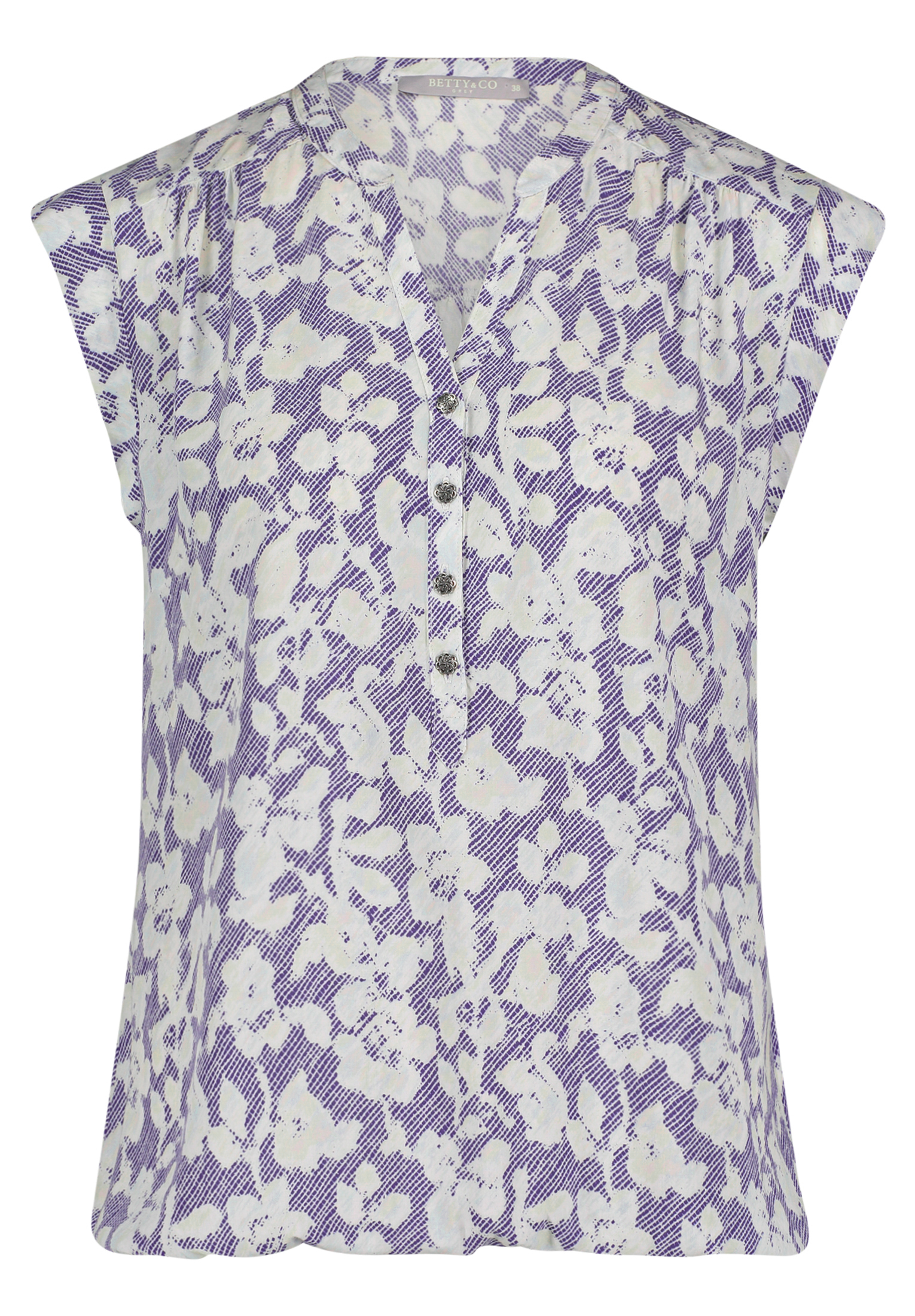 Betty & Co Casual-Bluse mit floralem Muster blau