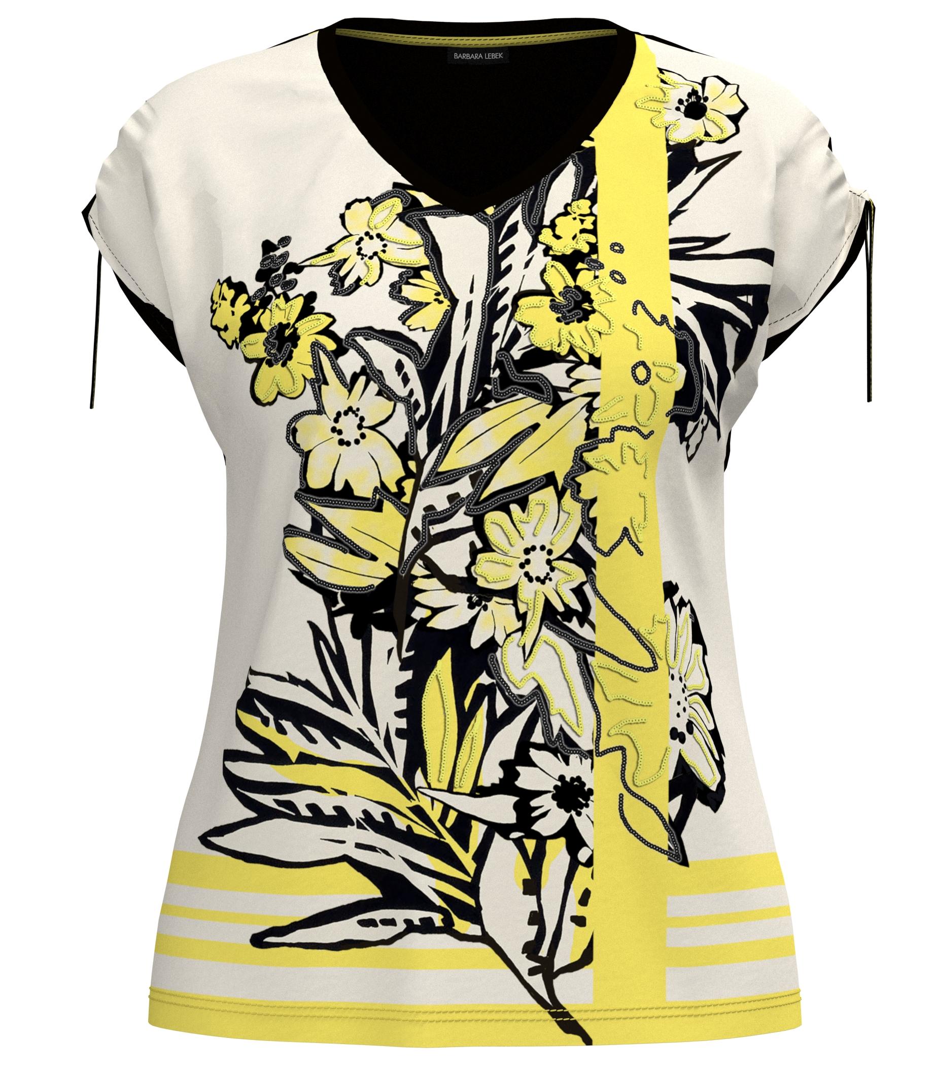 Barbara Lebek kurzarm Shirt floral gemustert schwarz