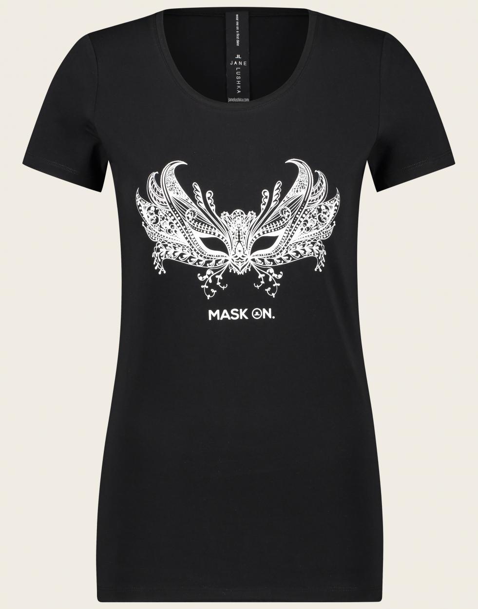Jane Lushka langes kurzarm Shirt mit Aufdruck schwarz
