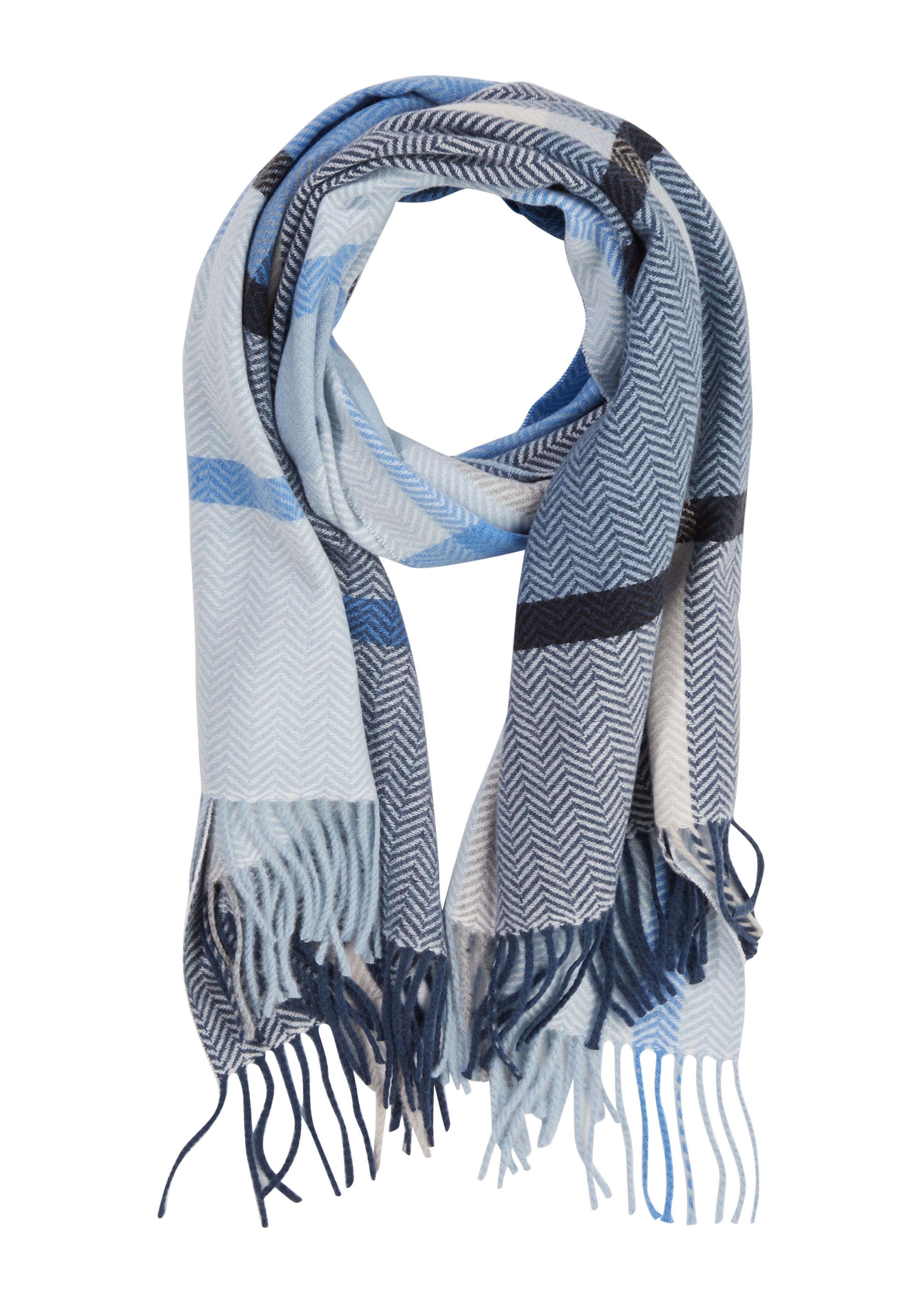 Comma Twill-Schal gemustert blau