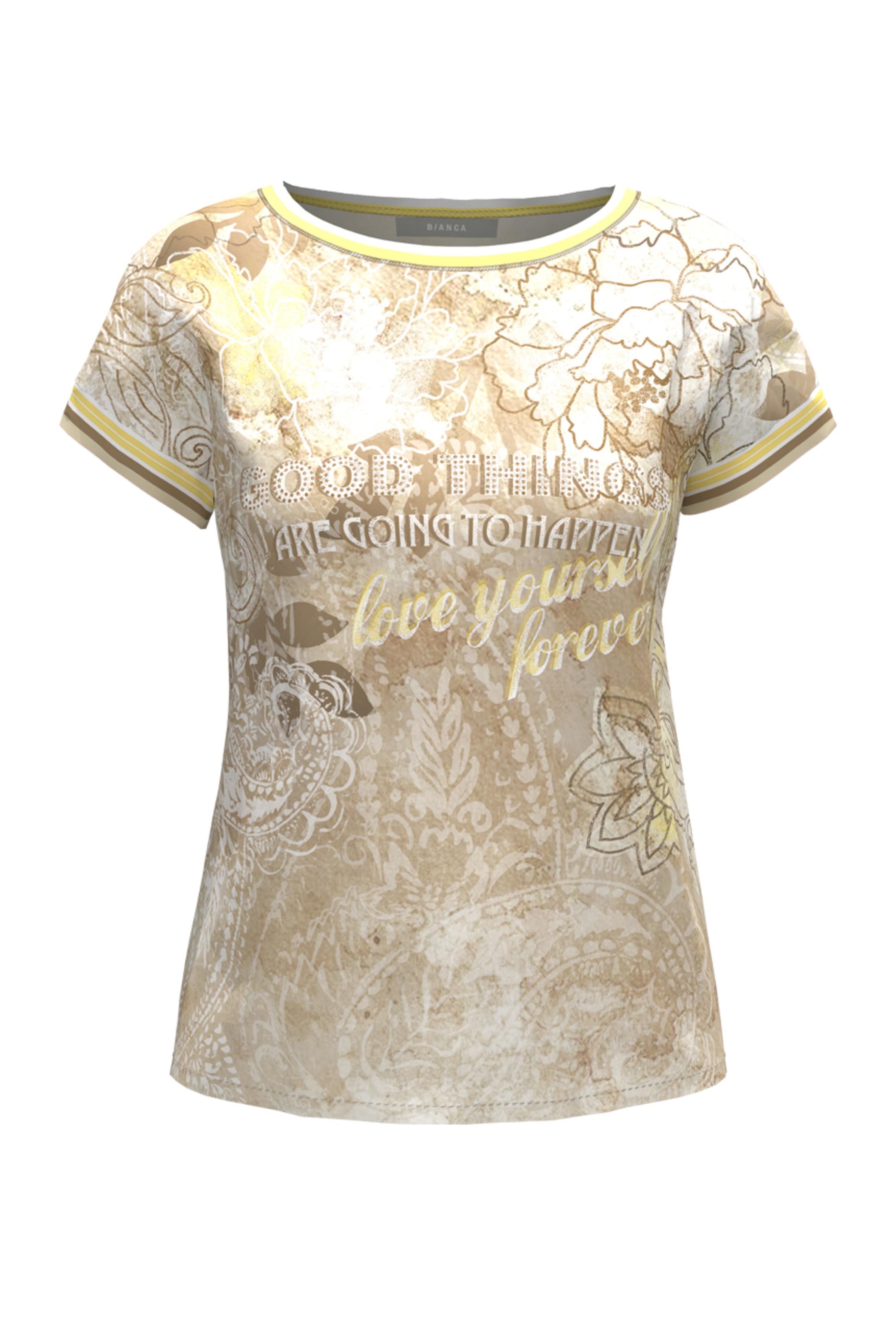 Bianca kurzarm Shirt gemustert beige