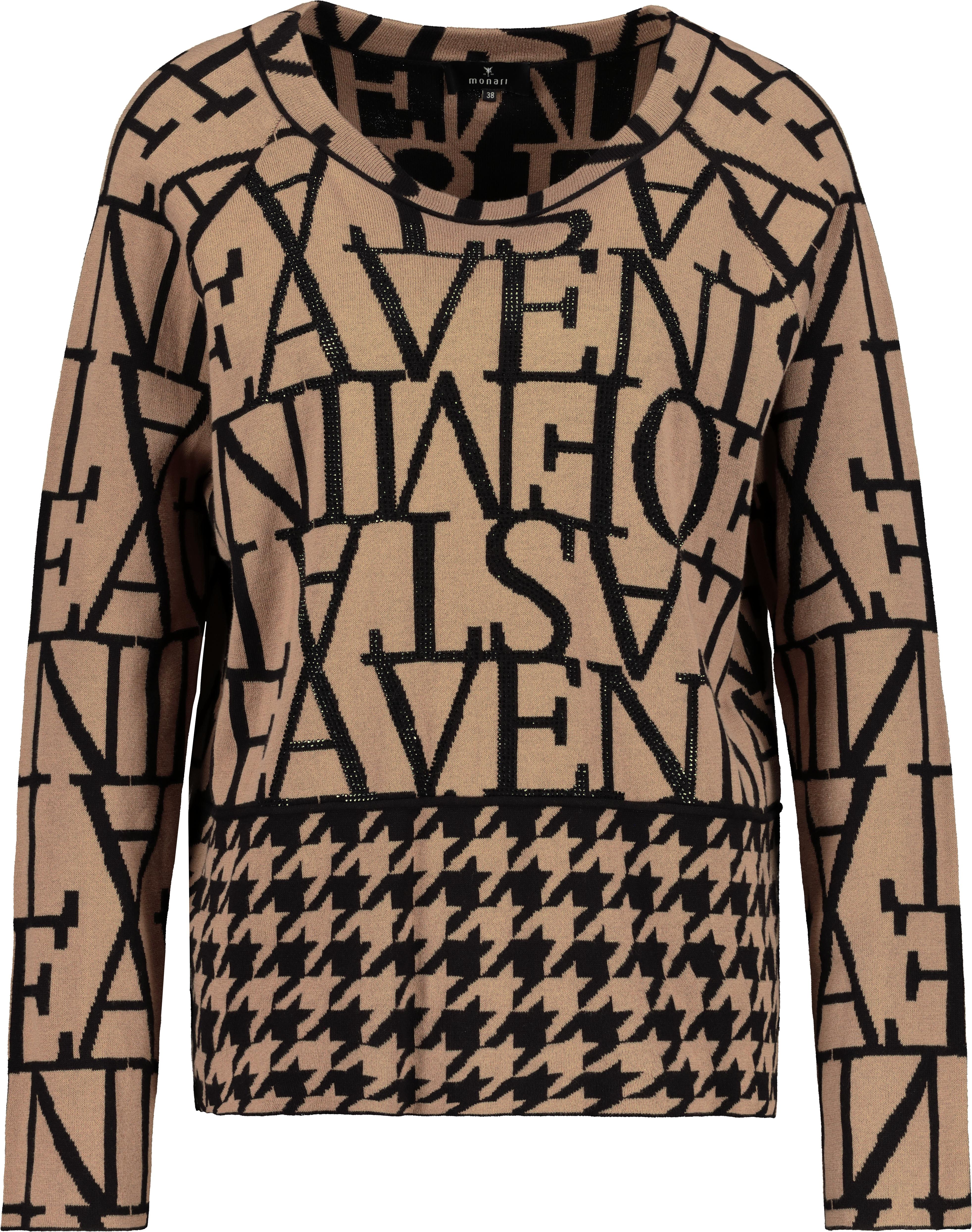 Monari Pullover aus Baumwolle gemustert braun