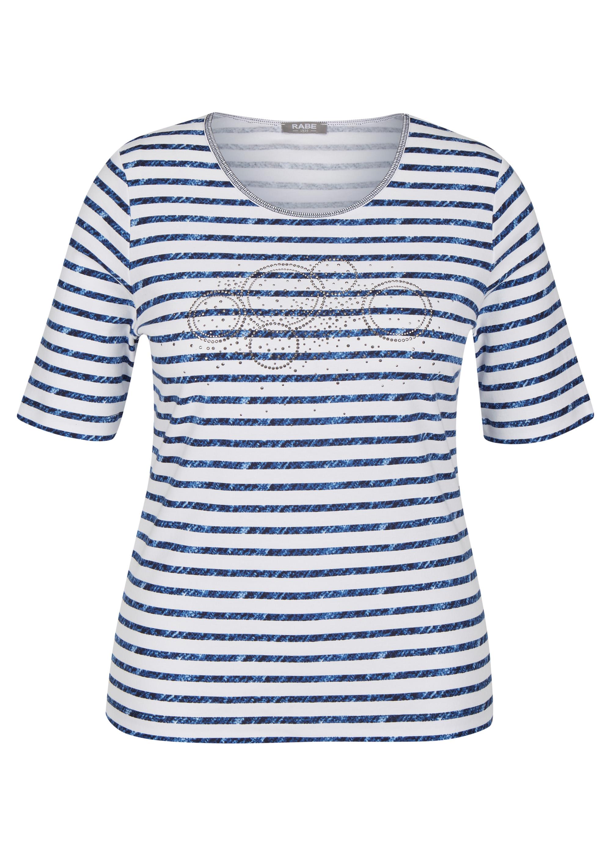 Rabe halbarm Shirt aus Baumwolle mit Strasssteinen blau gestreift