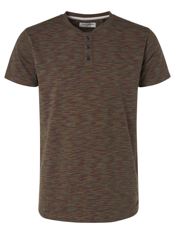 No Excess Stripe Granddad Collar T-Shirt