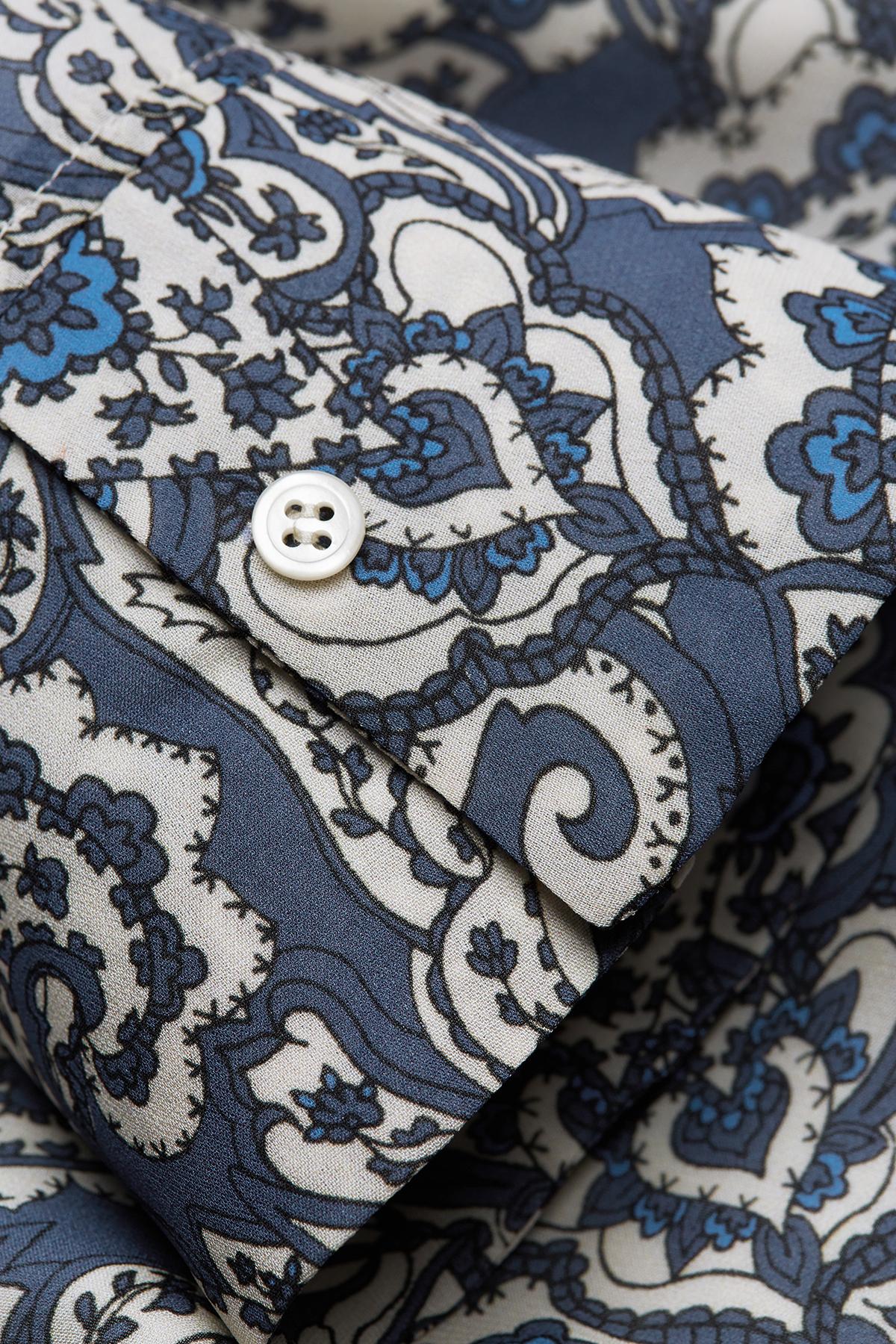 Cinque langarm Kleid mittellang gemustert blau