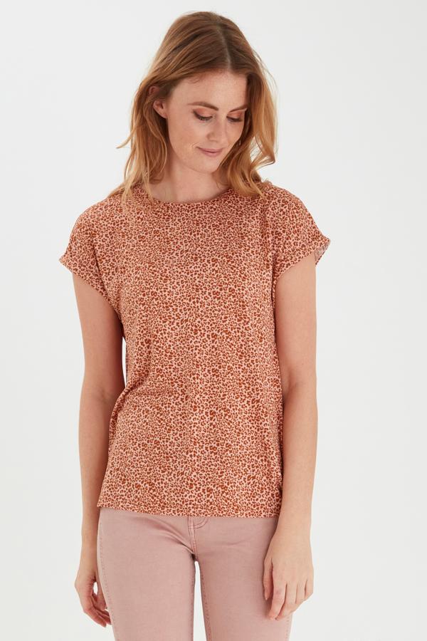 Fransa kurzarm Shirt mit floralem Muster pink