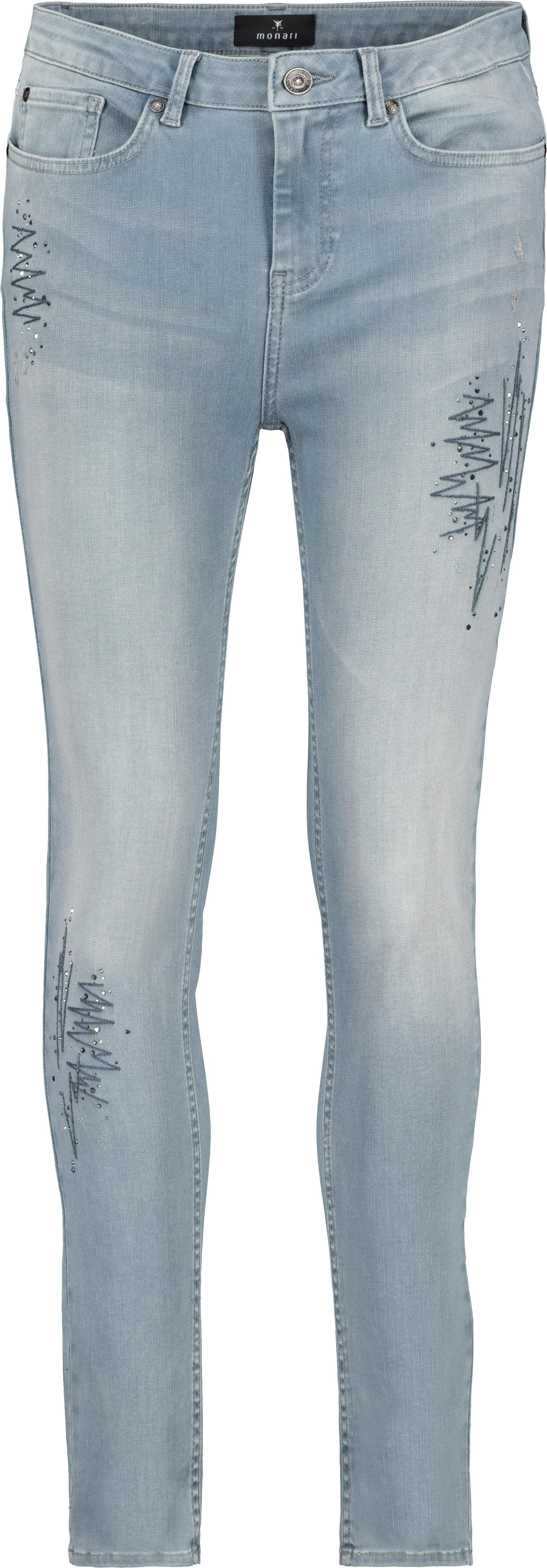 Monari Röhrenjeans mit Strickereien und Strasssteinen blau