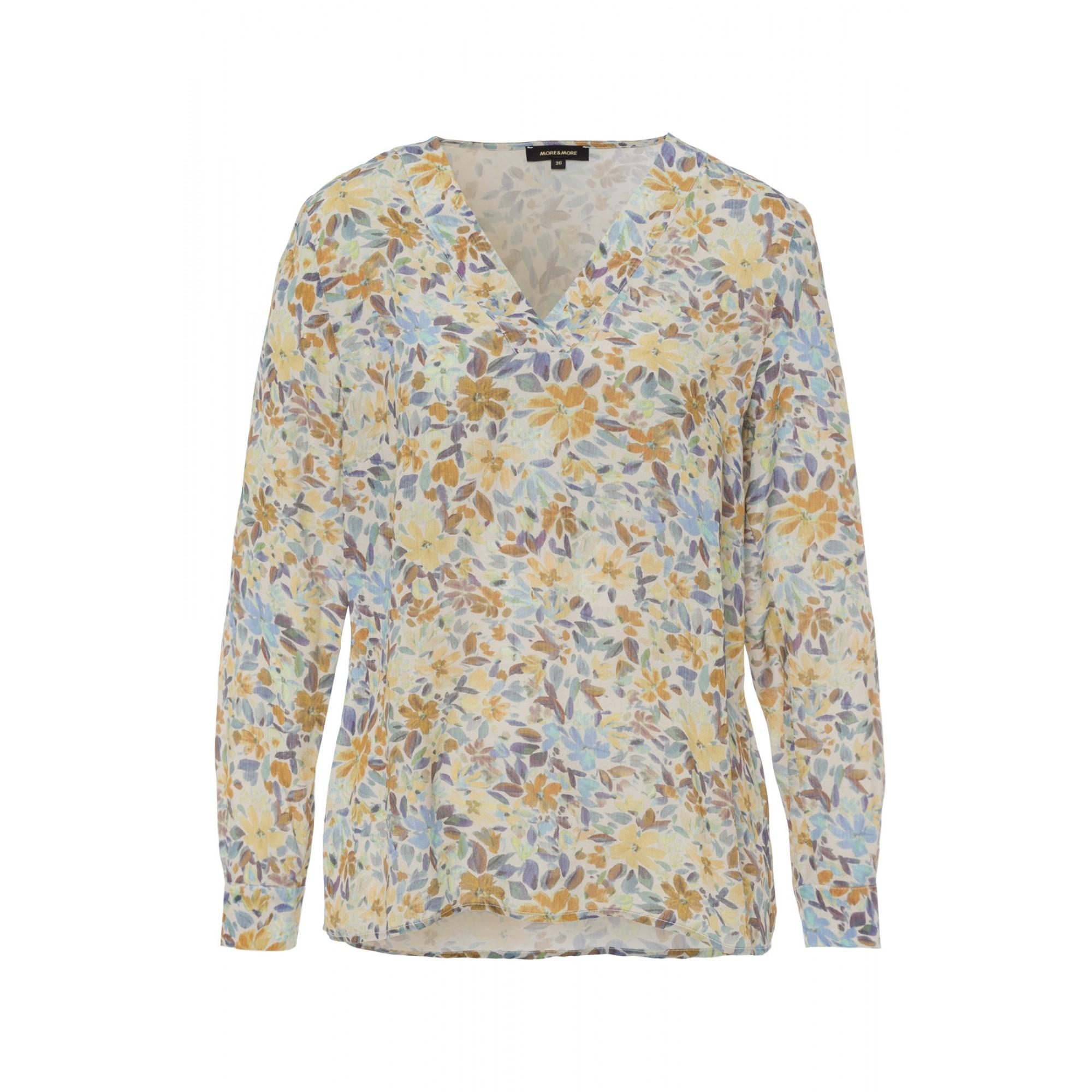 More & More Viskosebluse mit floralem Muster beige