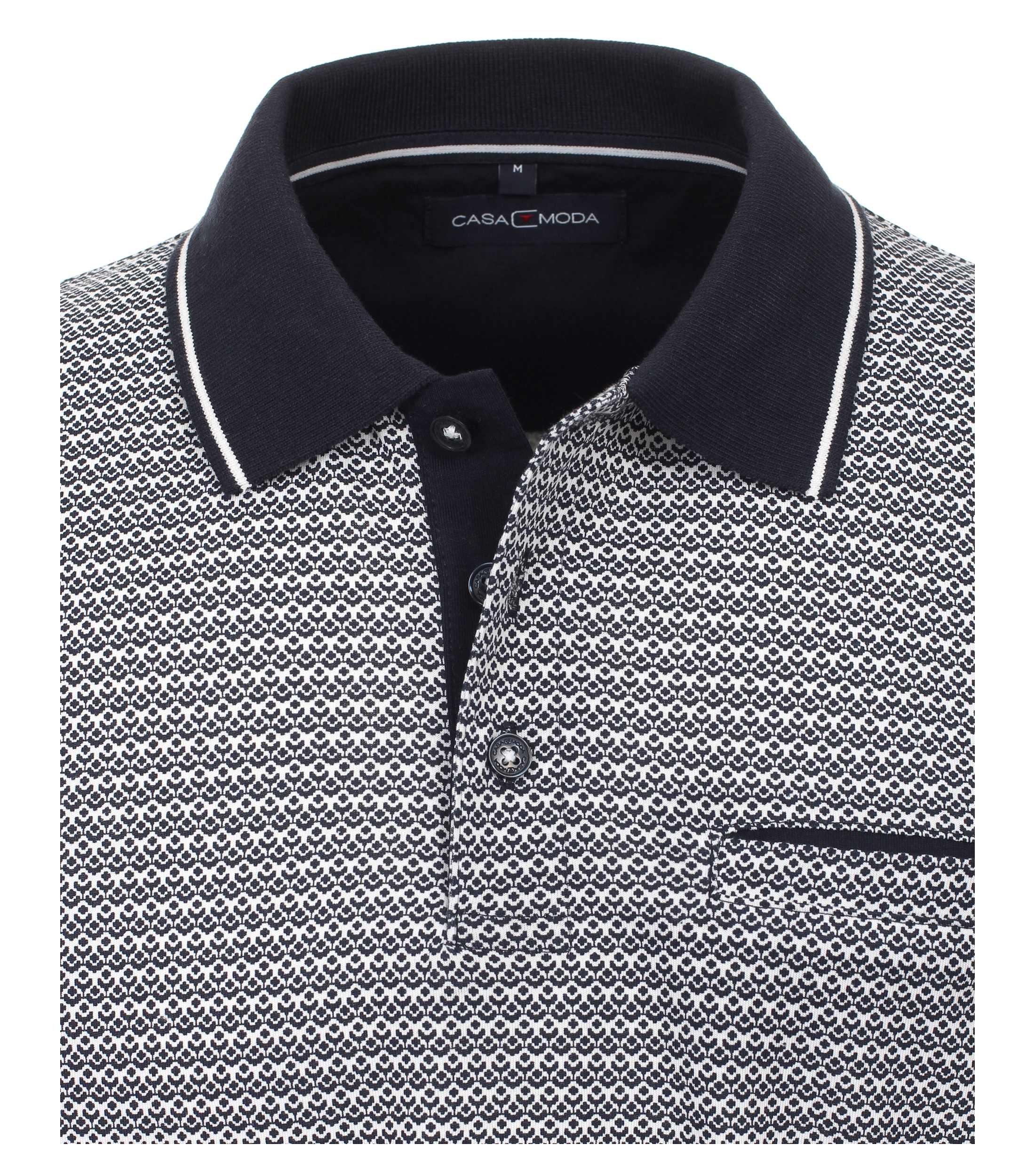 CasaModa Poloshirt aus Baumwolle gemustert blau