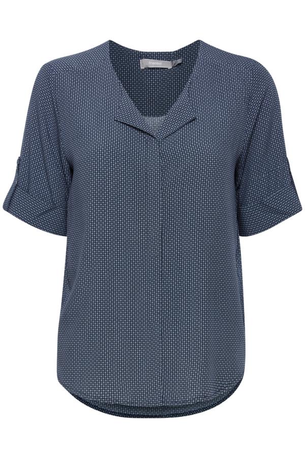 Fransa kurzarm Bluse aus Viskose gemustert, blau