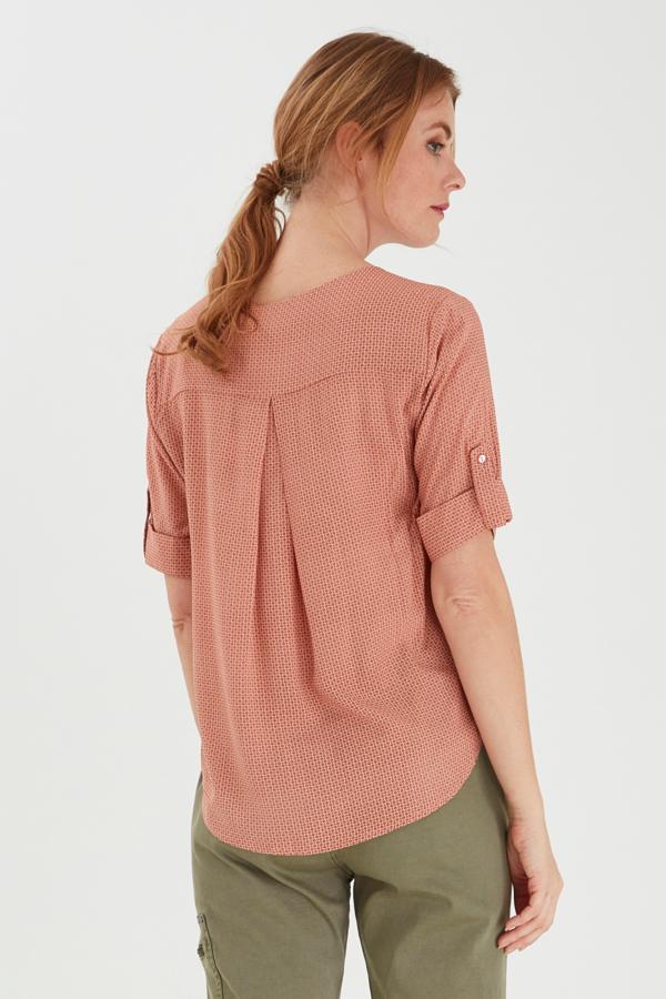 Fransa halbarm Bluse gemustert pink
