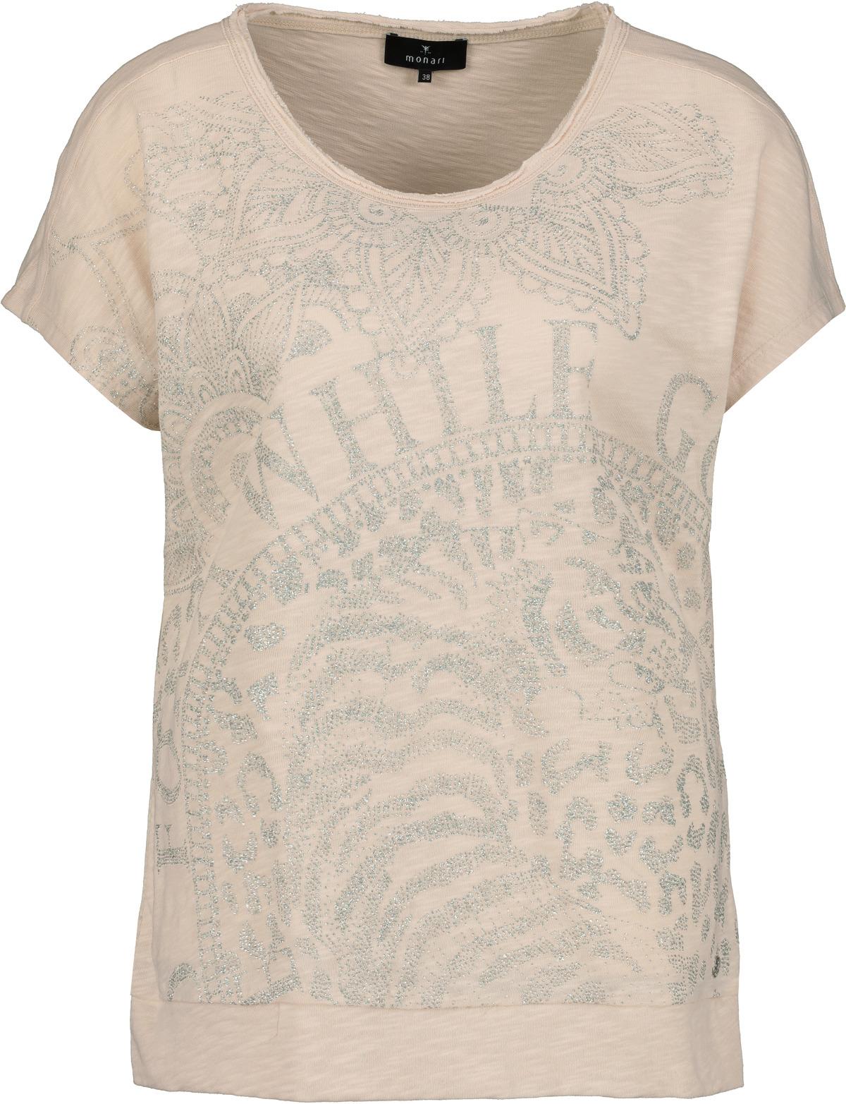Monari kurzarm Shirt aus Baumwolle mit Aufdruck beige