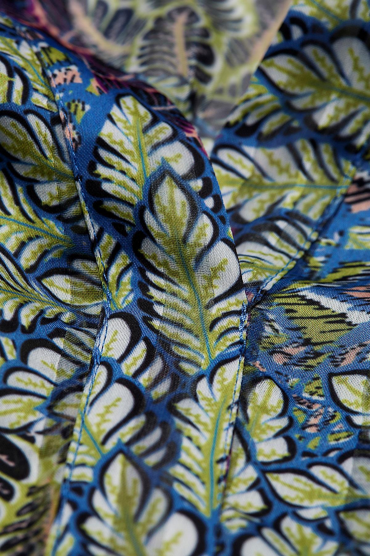 Cinque langarm Kleid lang gemustert blau