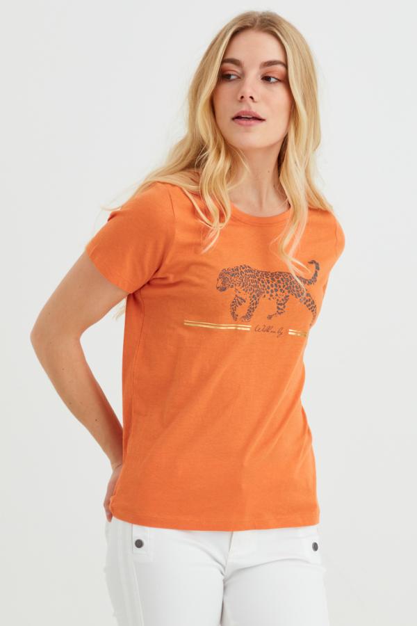 Fransa kurzarm Shirt aus Baumwolle mit Leoparden Motiv, orange