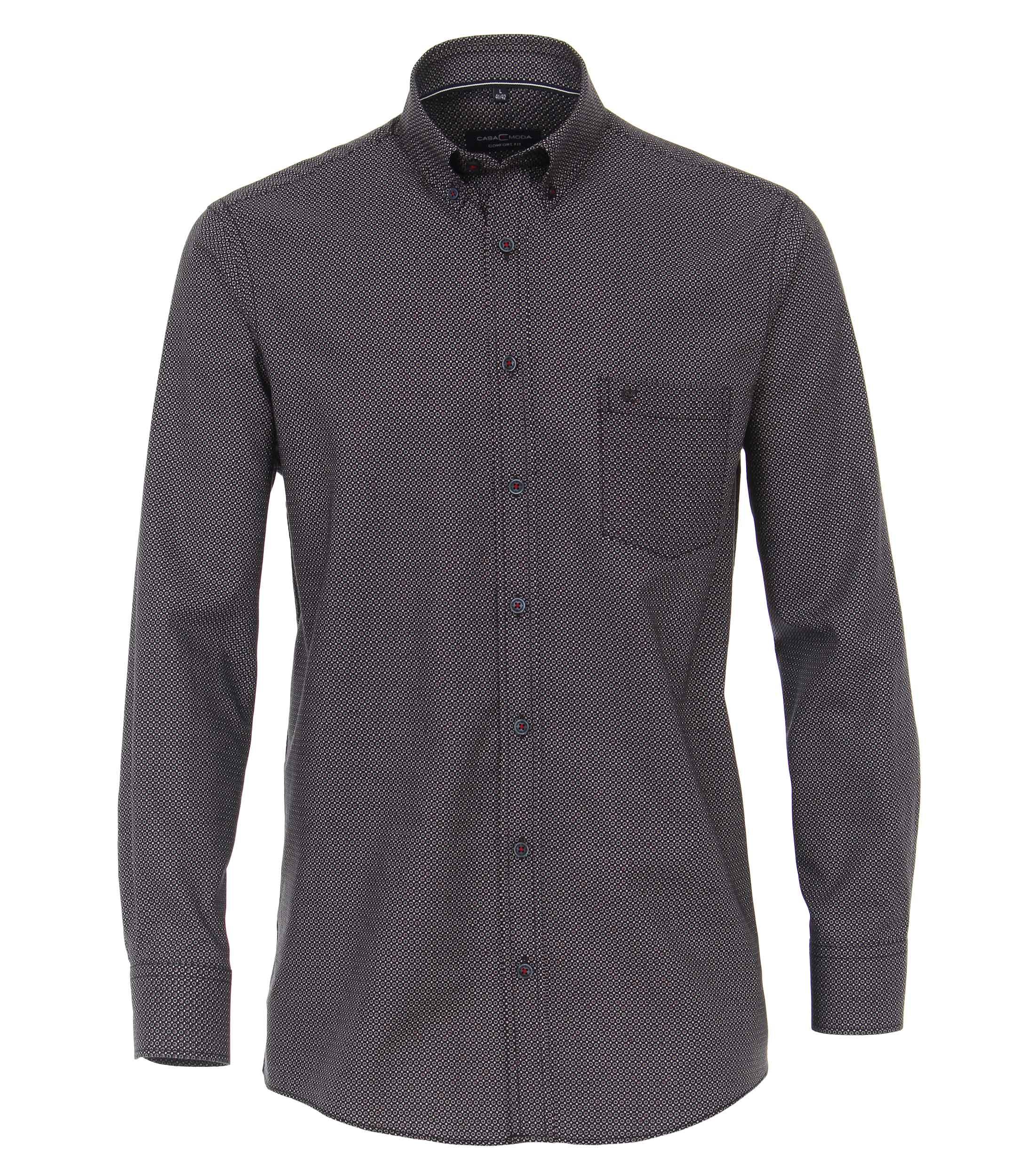 CasaModa Baumwollhemd gemustert grau