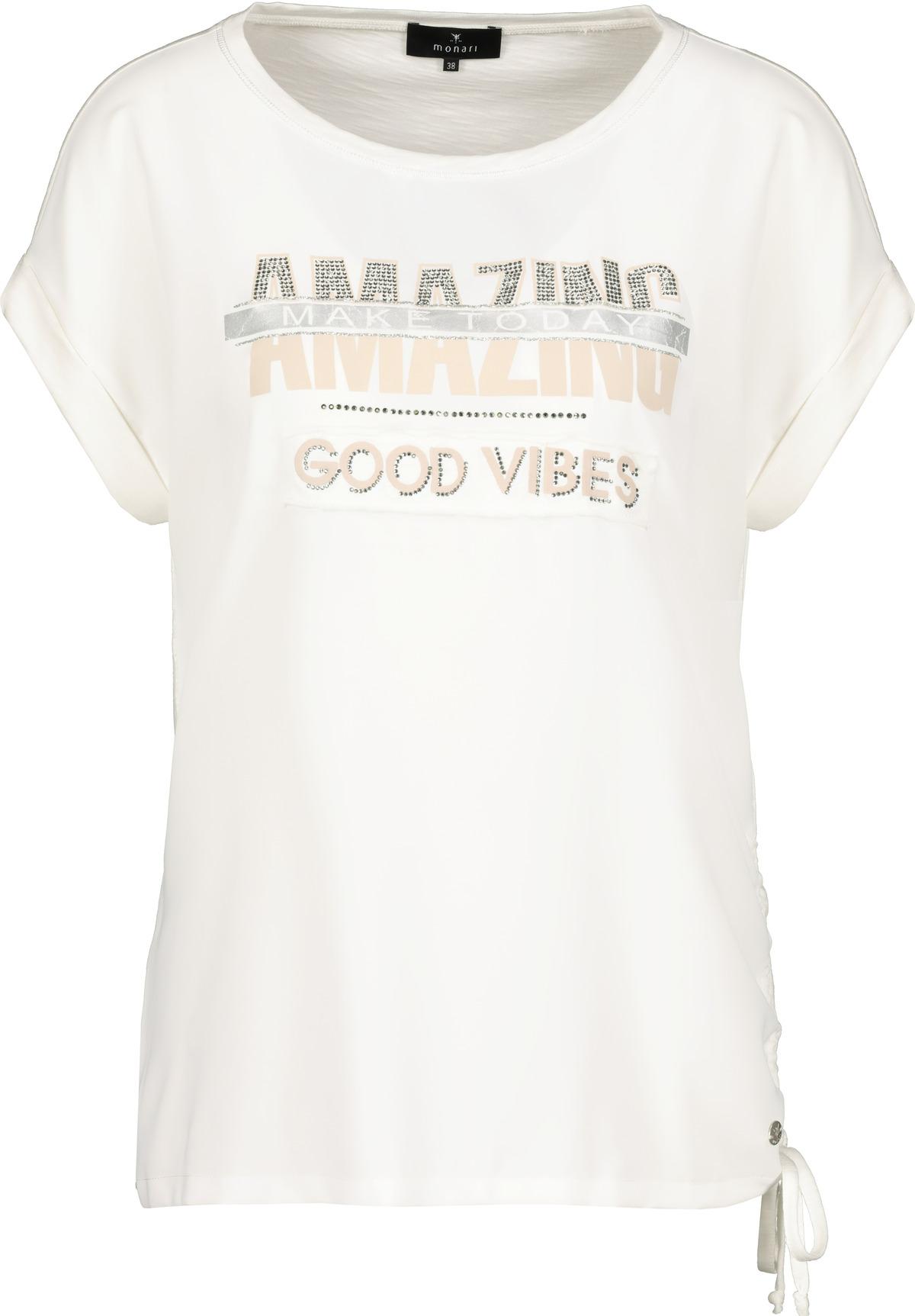 Monari kurzarm Blusenshirt mit Aufschrift weiß