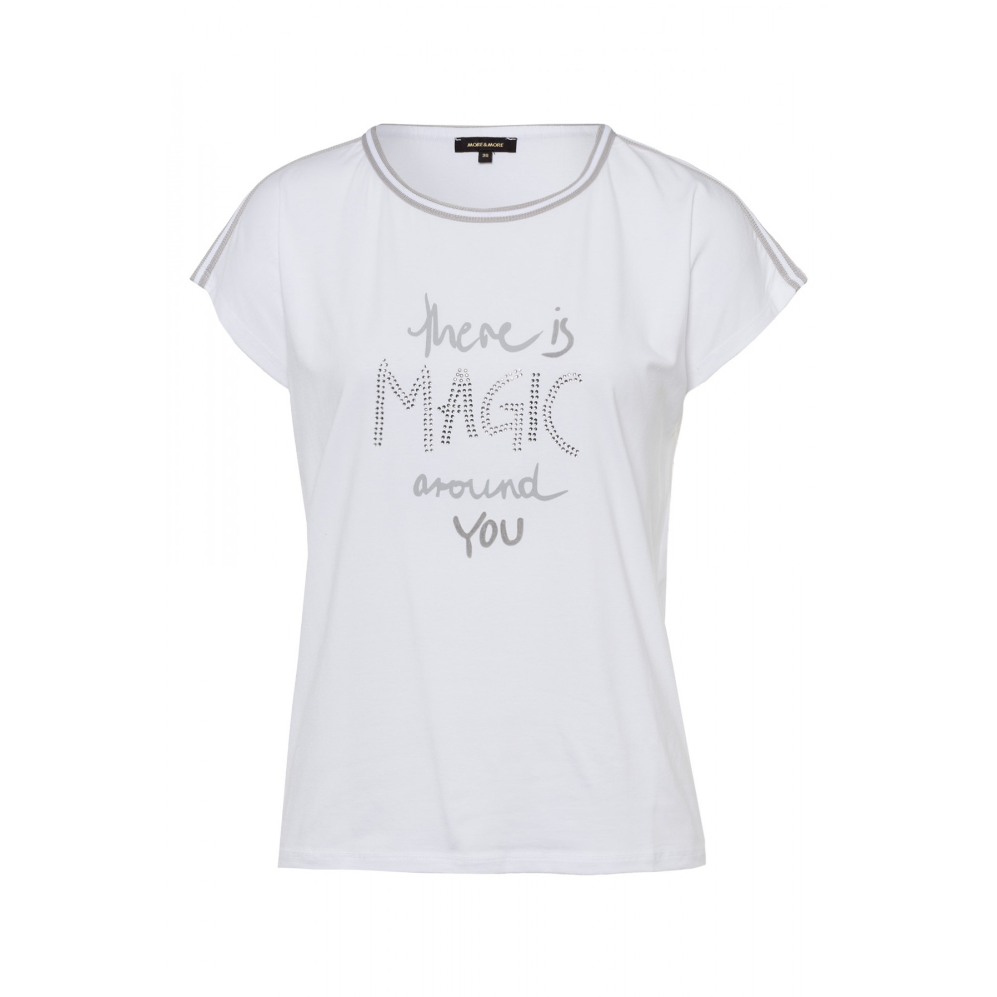 More & More kurzarm Shirt mit Aufschrift weiß