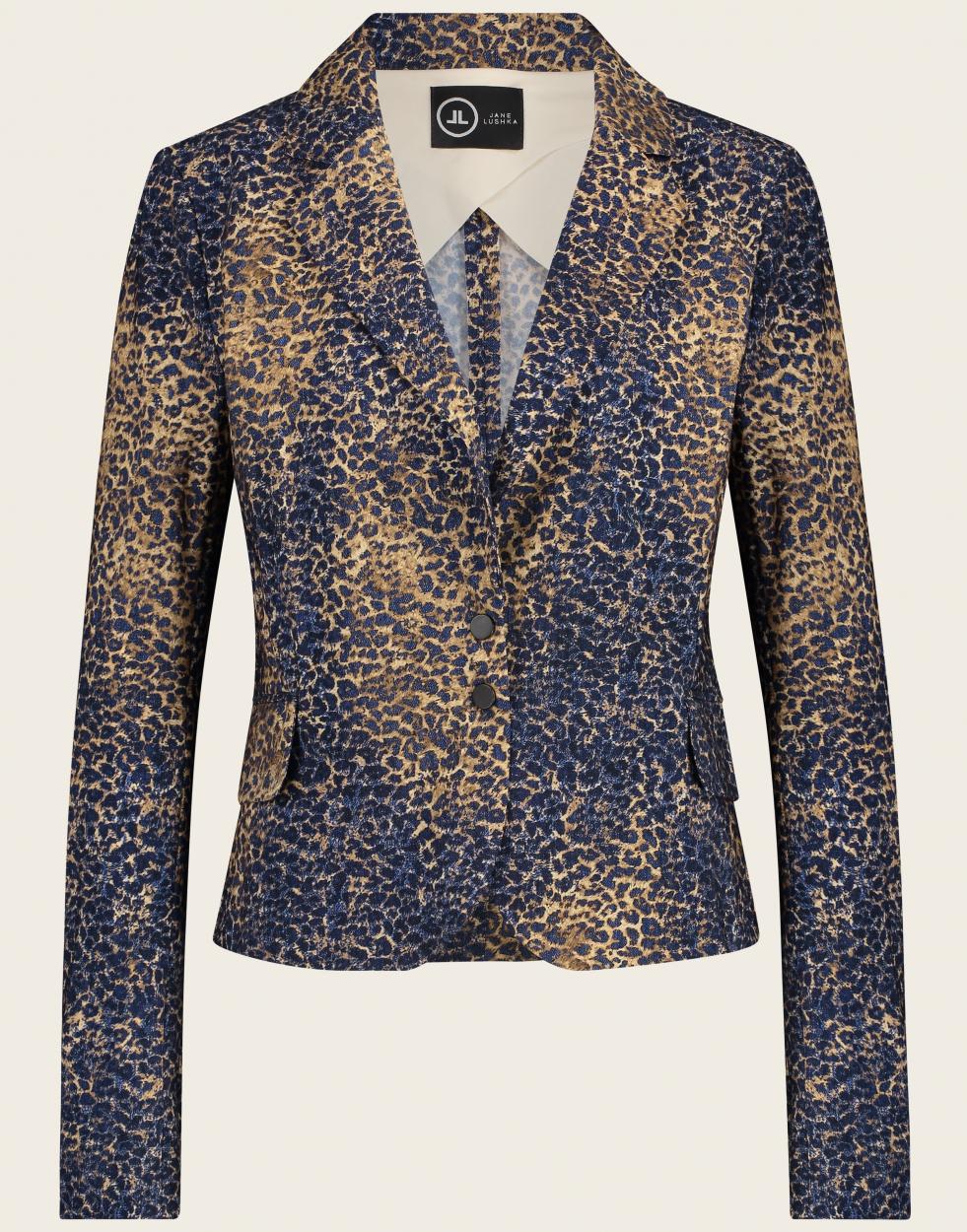 Jane Lushka Blazer mit Leopardenmuster blau