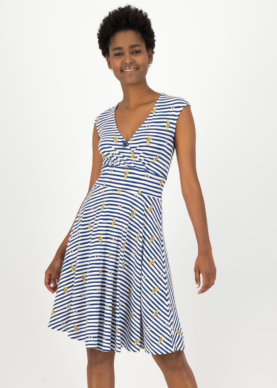 Blutsgeschwister Kleid mittellang, blau gestreift