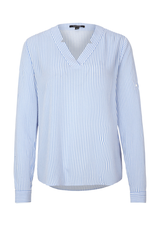 Comma Crêpe-Bluse blau gestreift