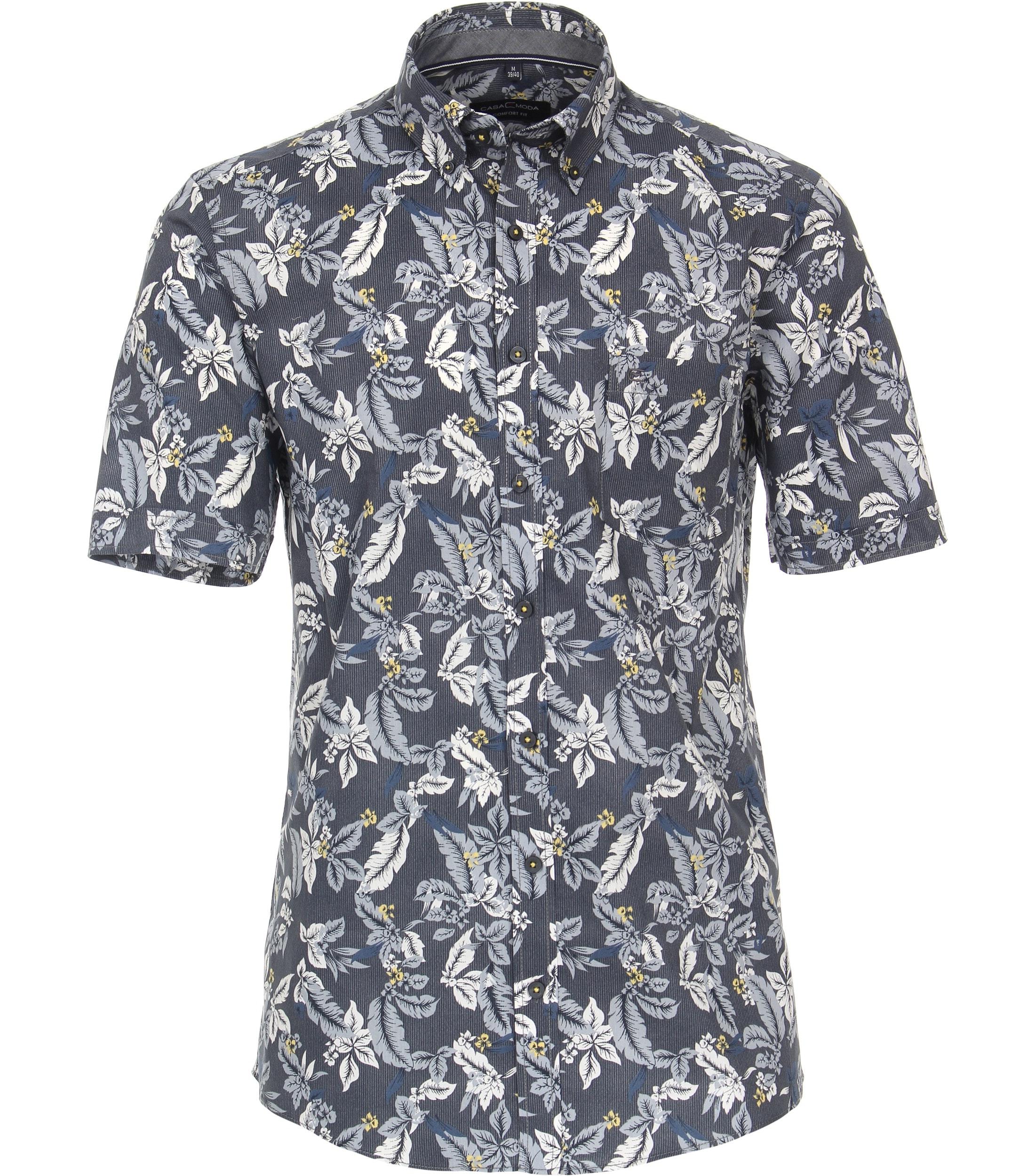 CasaModa kurzarm Hemd aus Baumwolle mit floralem Muster, blau