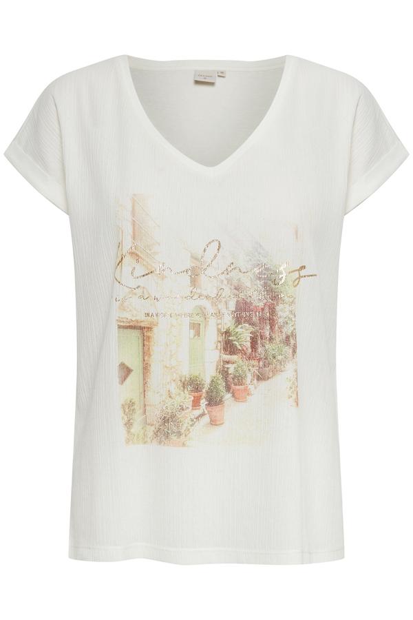 Cream kurzarm Shirt aus Baumwolle mit Aufdruck weiß