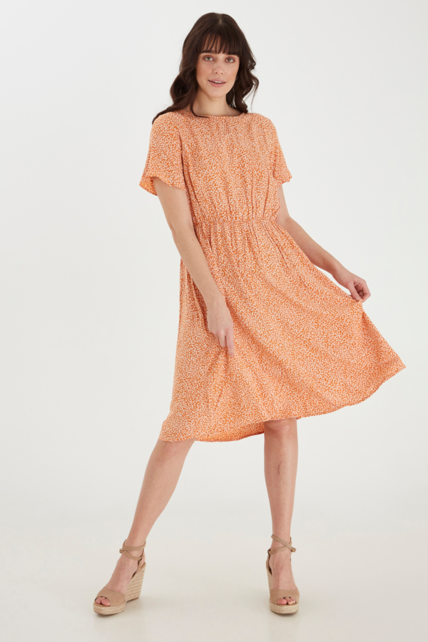 Fransa Kleid mittellang gemustert orange