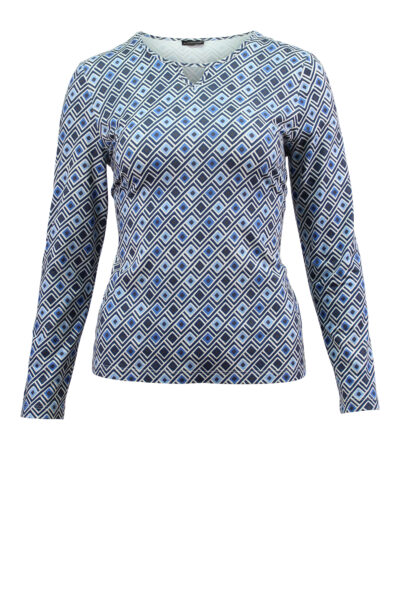 Barbara Lebek langarm Shirt gemustert blau