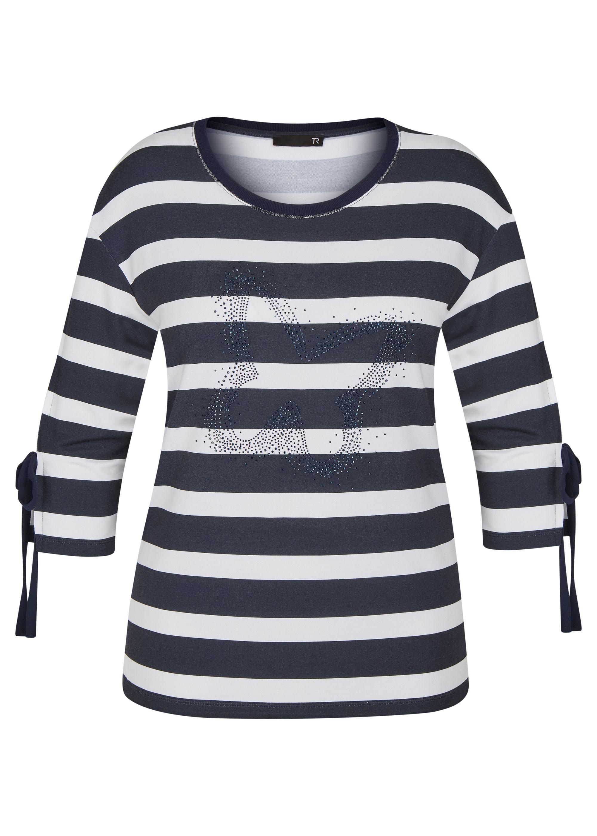 Rabe halbarm Shirt mit Strasssteinen blau gestreift