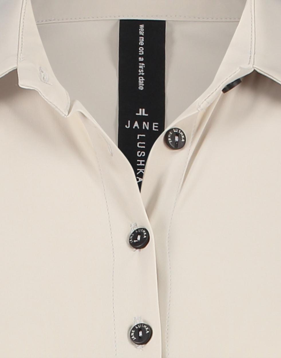 Jane Lushka halbarm Bluse beige
