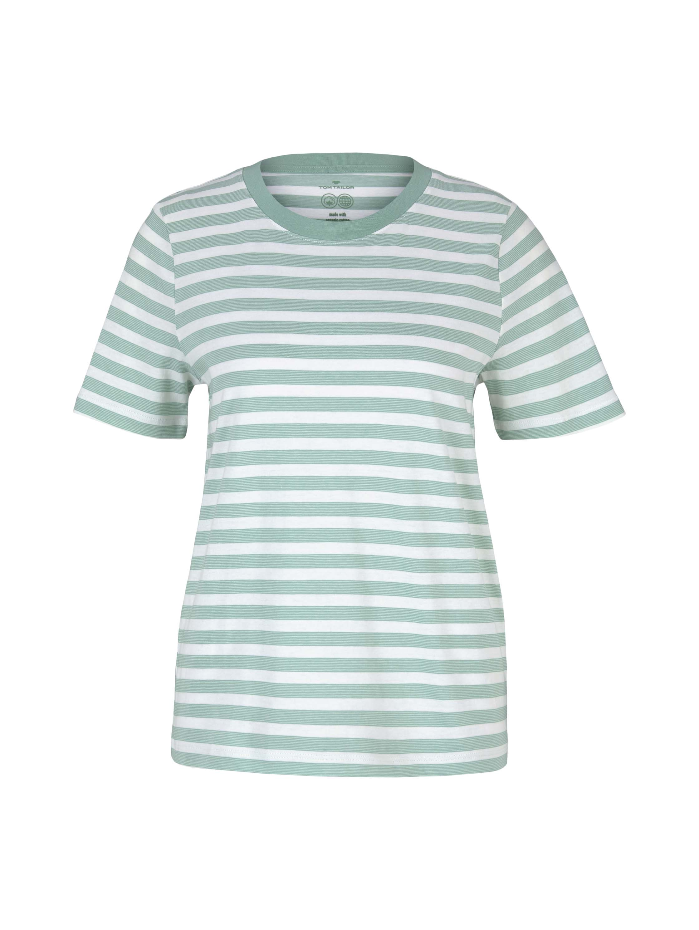 Tom Tailor kurzarm Shirt aus Baumwolle grün gestreift