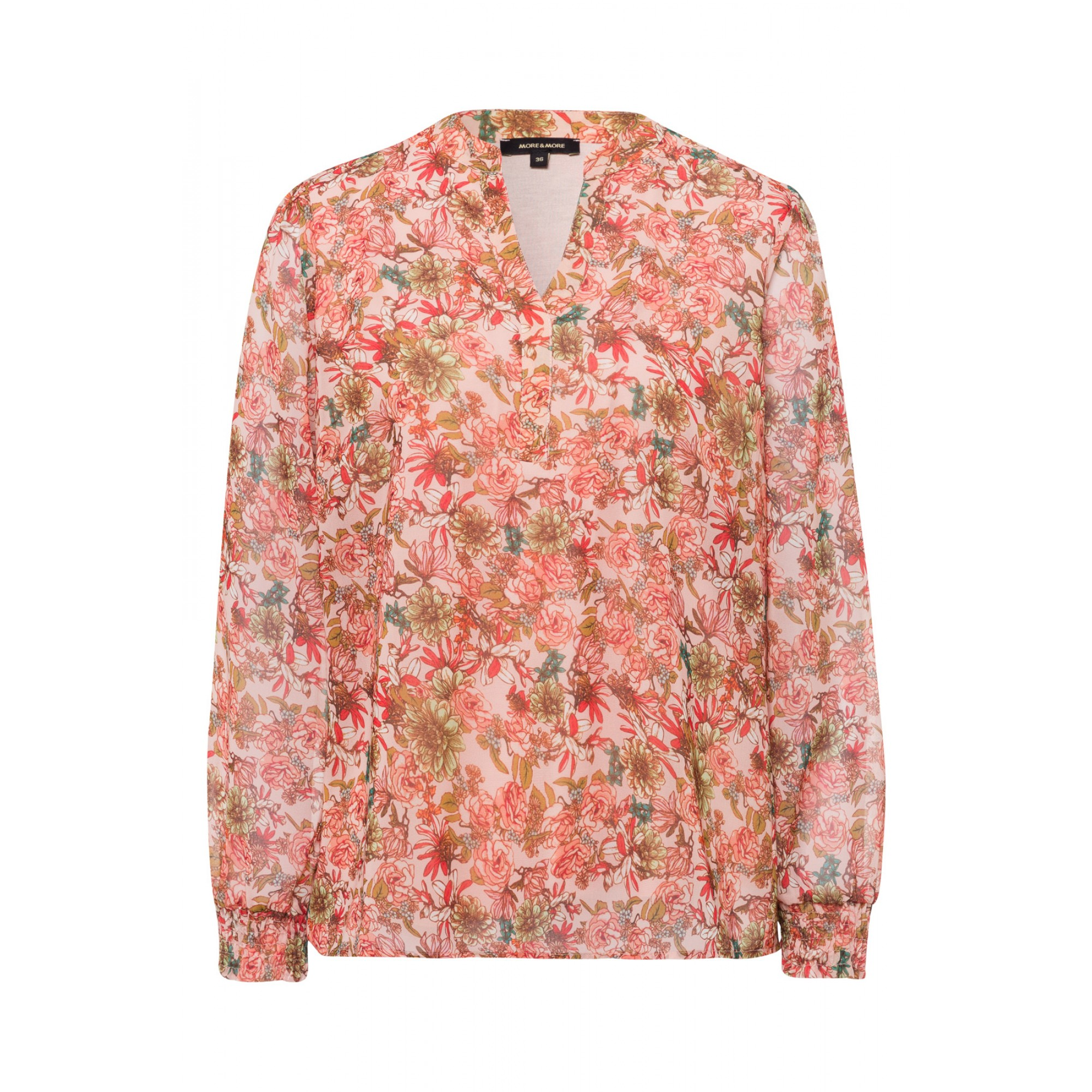 More & More Bluse mit floralem Muster apricot