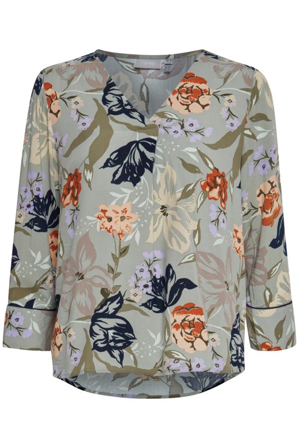 Fransa 3/4-Arm Bluse mit floralem Muster grün