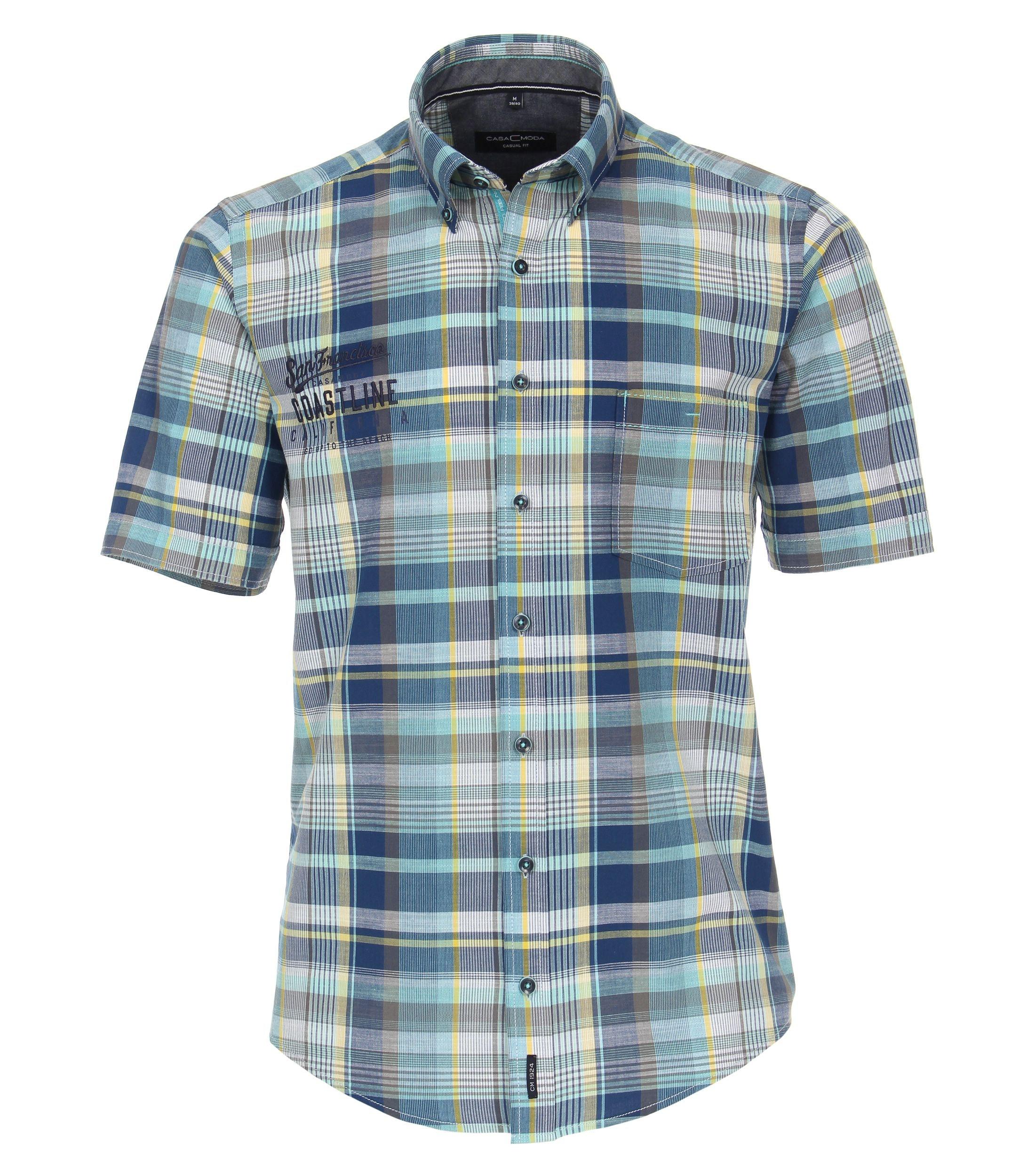 CasaModa kurzarm Freizeithemd aus Baumwolle kariert, blau