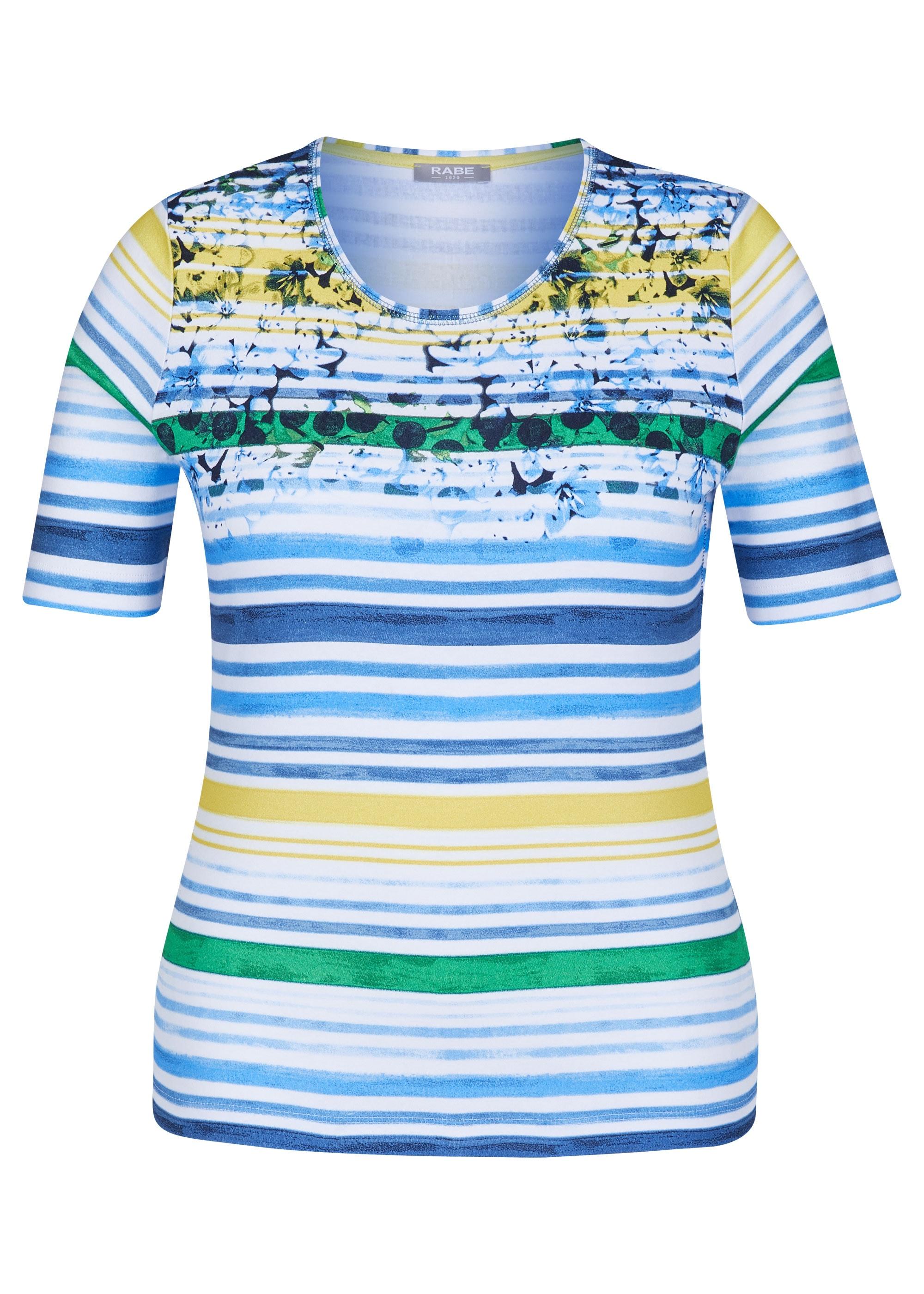 Rabe halbarm Shirt aus Baumwolle mit geblümten Details blau gestreift