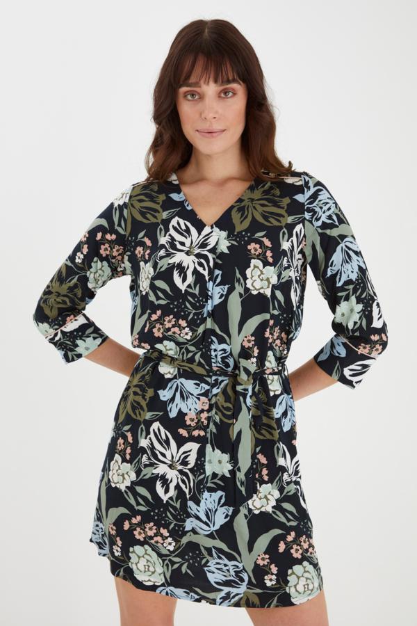Fransa Kleid mittellang mit floralem Muster blau