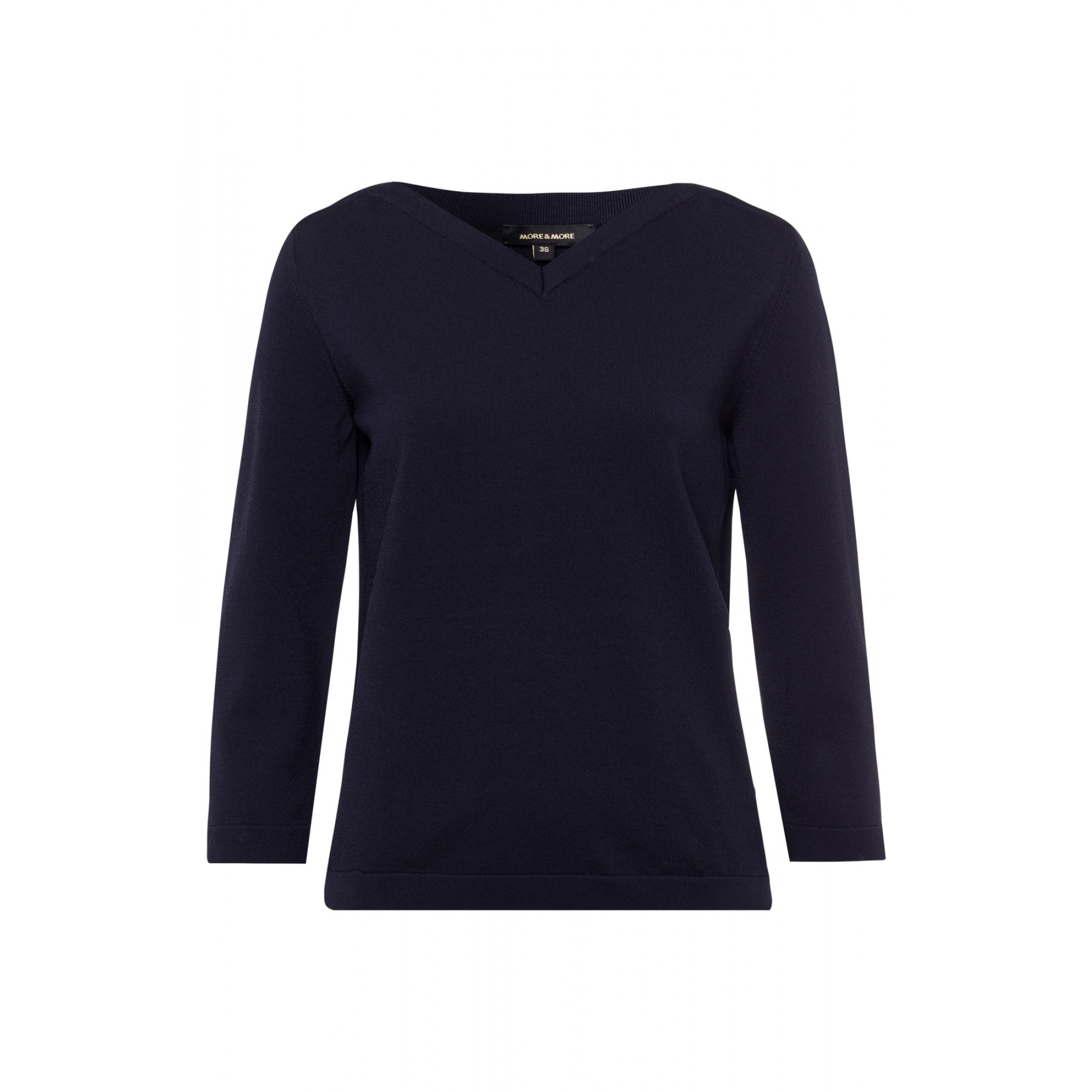 More & More 3/4-Arm Feinstrick-Pullover blau