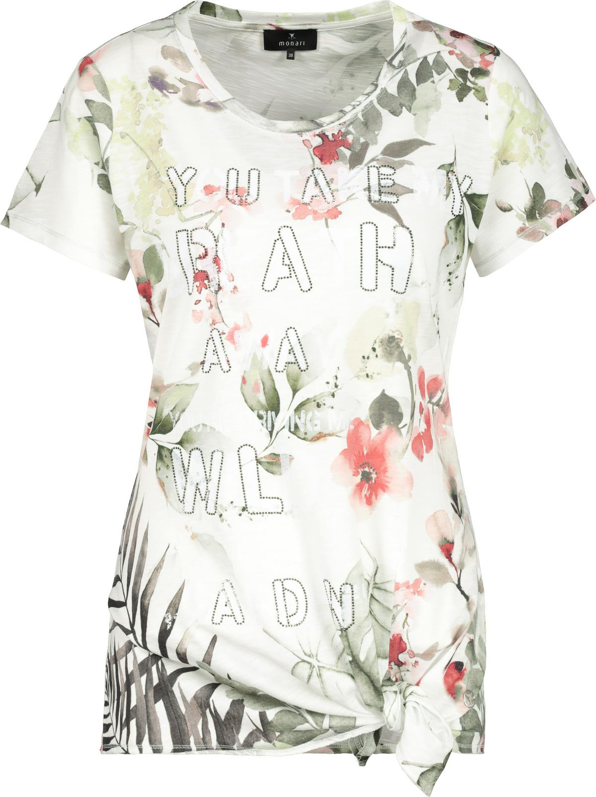 Monari kurzarm Shirt floral gemustert mit Aufschrift