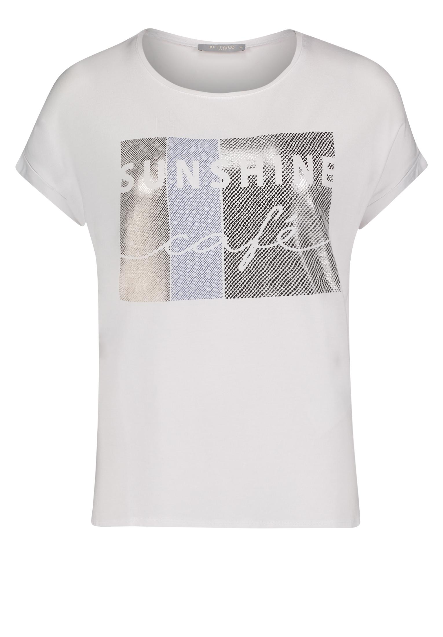 Betty & Co. kurzarm Shirt mit Aufdruck weiß