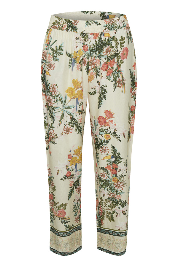 Cream Hose mit floralem Muster beige
