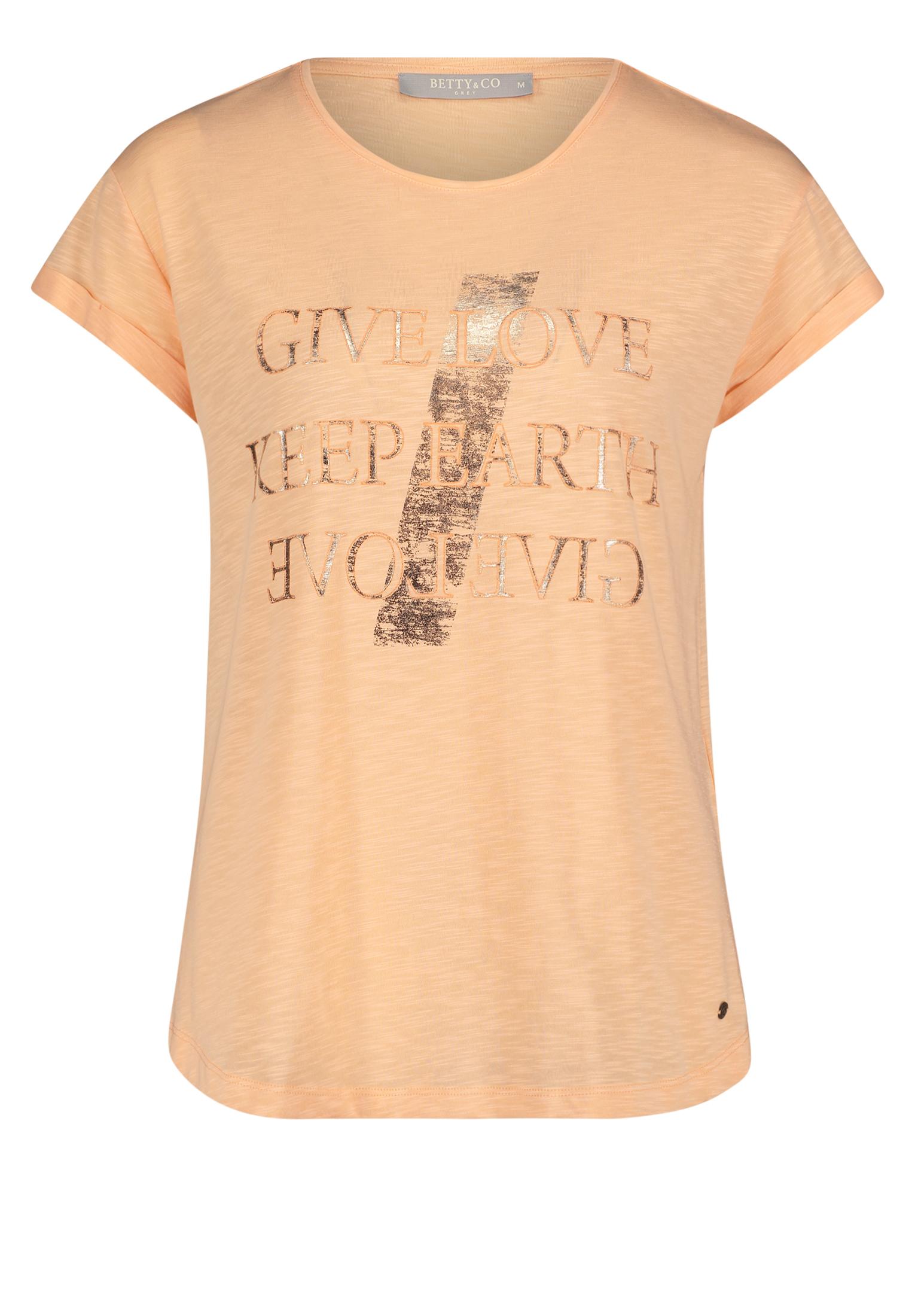 Betty & Co. kurzarm Shirt mit Aufschrift apricot
