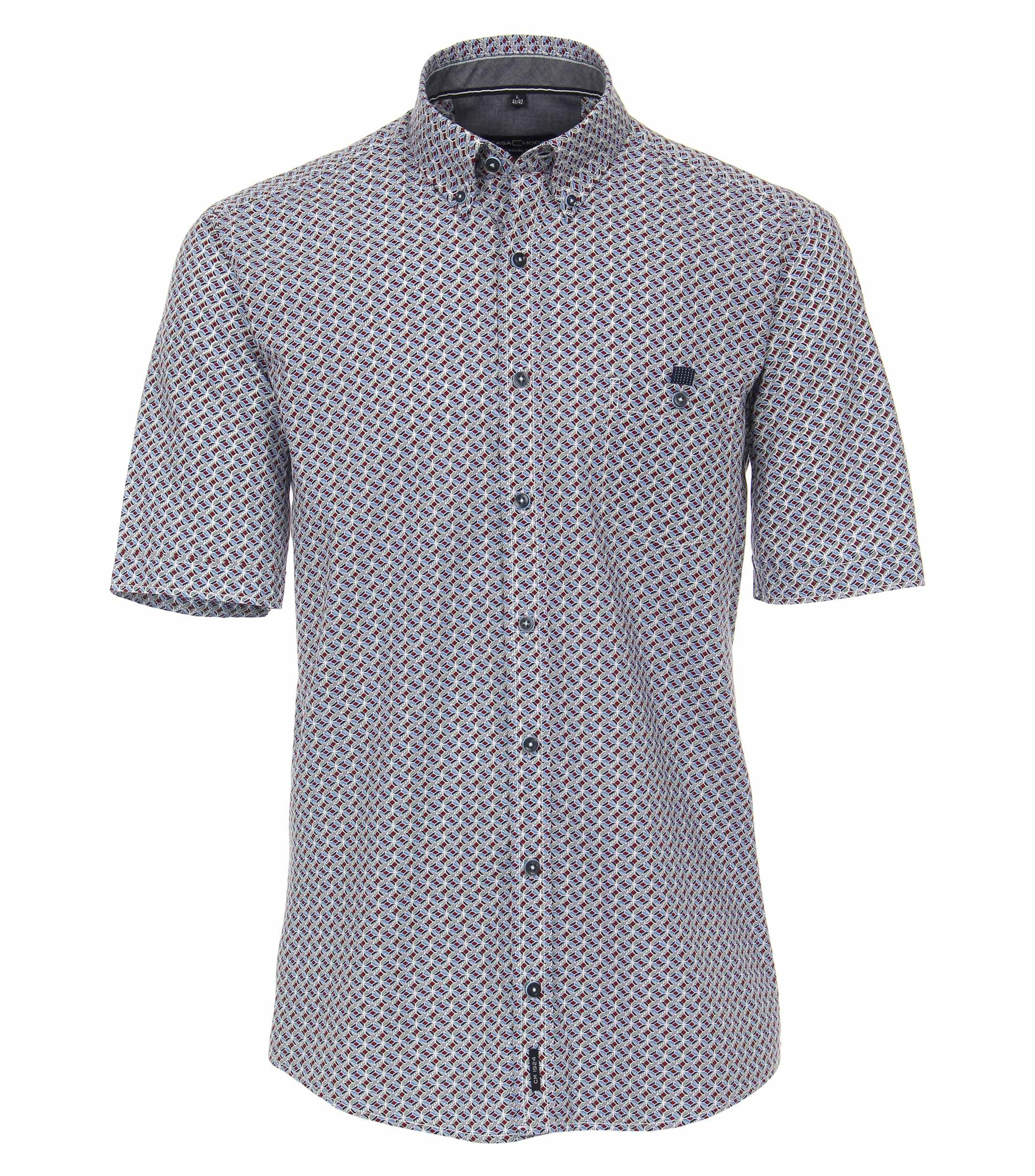 CasaModa kurzarm Hemd aus Baumwolle gemustert blau